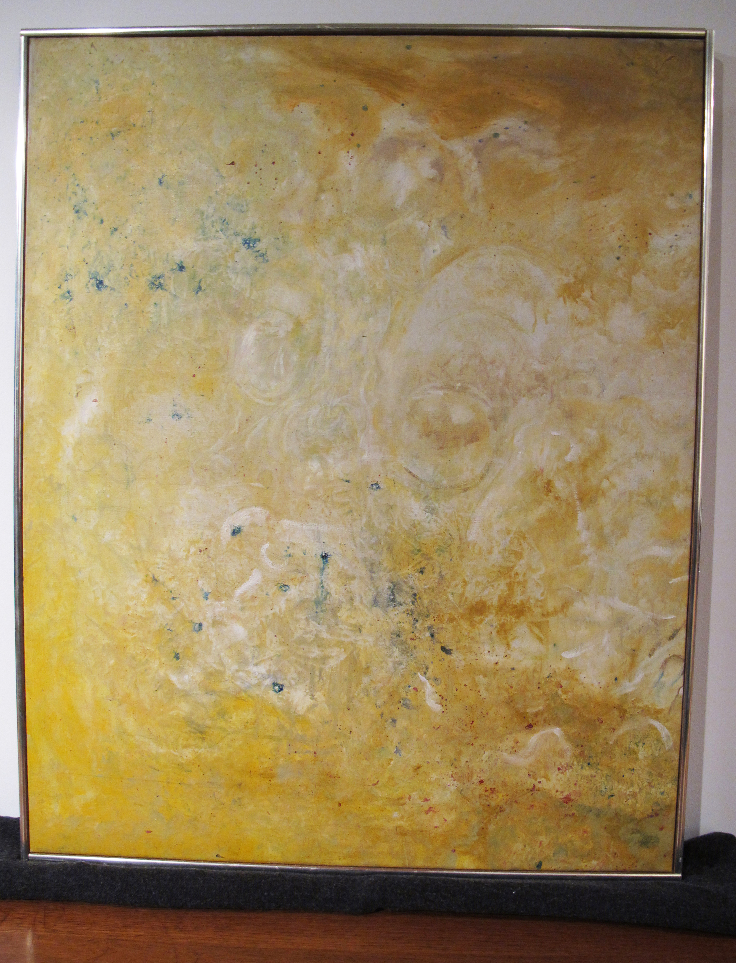 MID CENTURY BRIGHT YELLOW ABSTRACT FRAMED OIL PAINTING