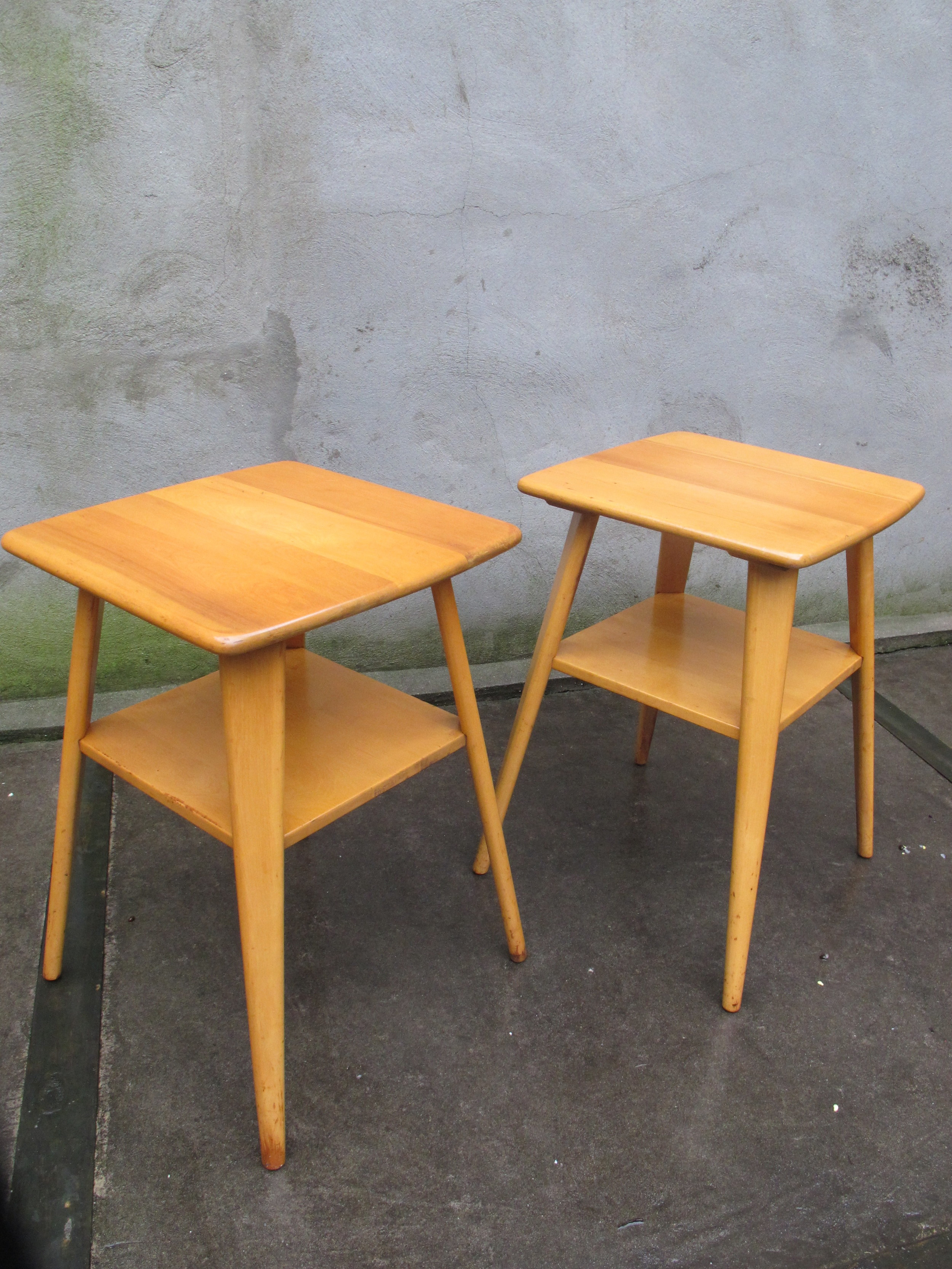 HEYWOOD WAKEFIELD STYLE MAPLE TWO-TIER SIDE TABLES