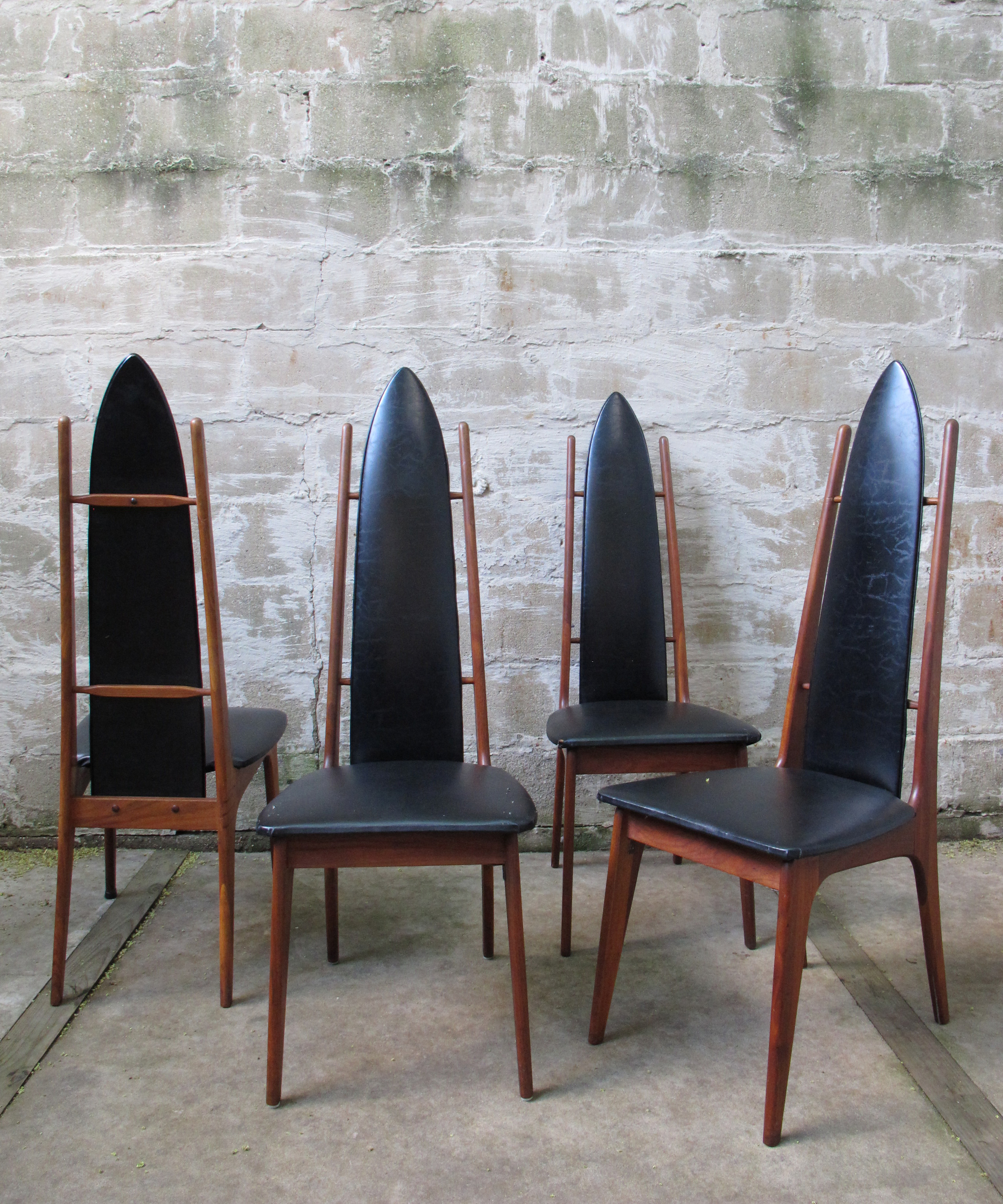 SET OF MID CENTURY WALNUT HIGH BACK DINING CHAIRS AFTER PEARSALL