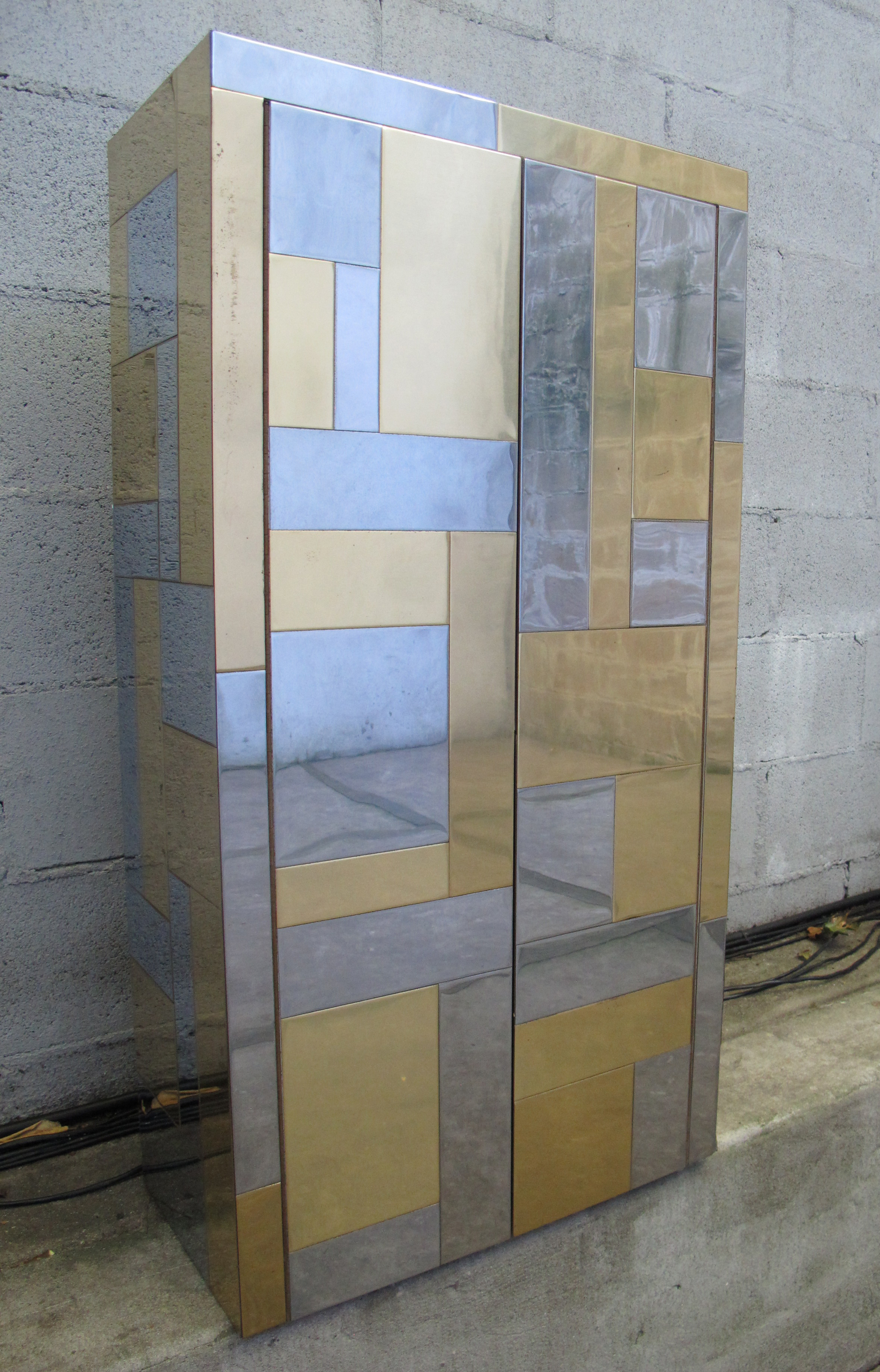 """MID CENTURY """"CITYSCAPE"""" WALL-MOUNT DIRECTIONAL CABINET BY PAUL EVANS"""