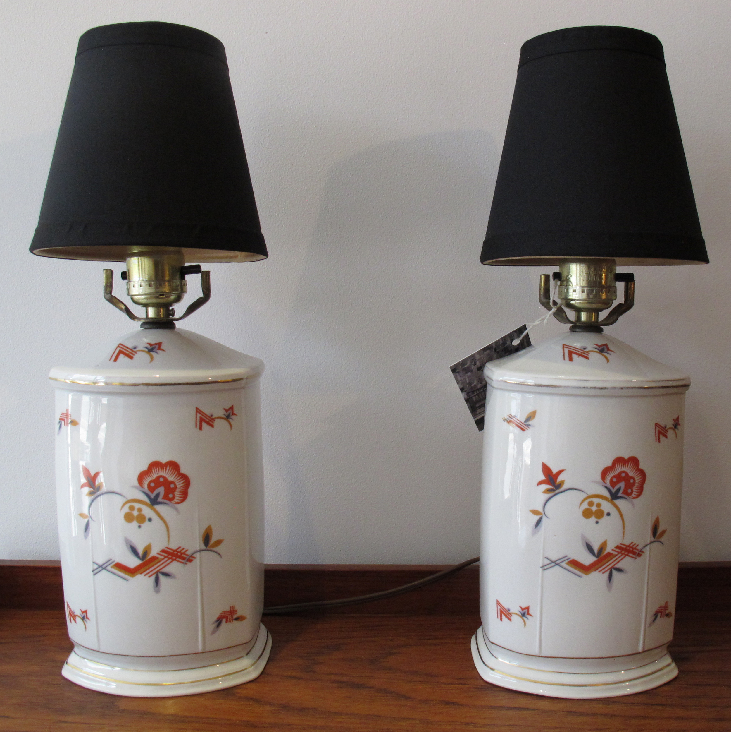 PAIR OF CZECHO-DECO TABLE LAMPS