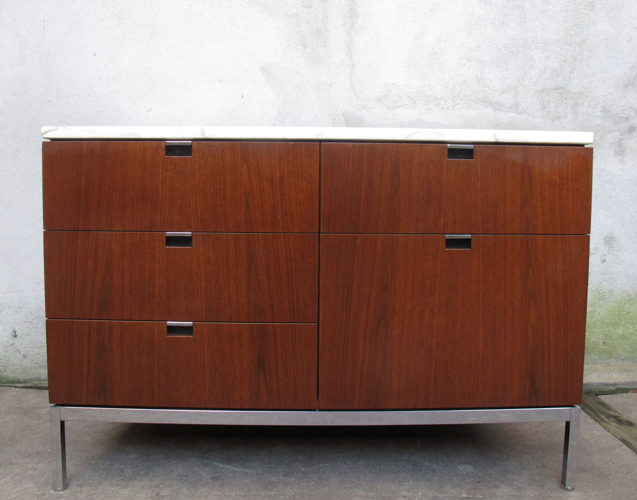 MID CENTURY WALNUT CABINET WITH MARBLE TOP BY FLORENCE KNOLL