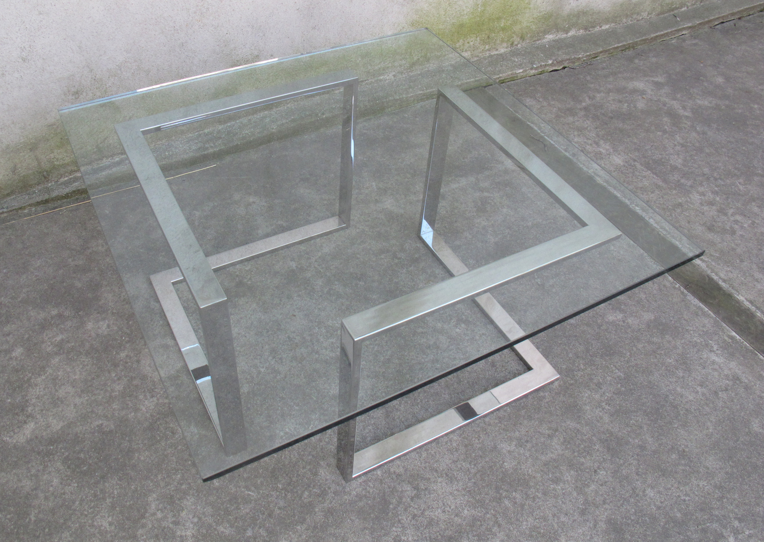 MID CENTURY CHROME AND GLASS COFFEE TABLE