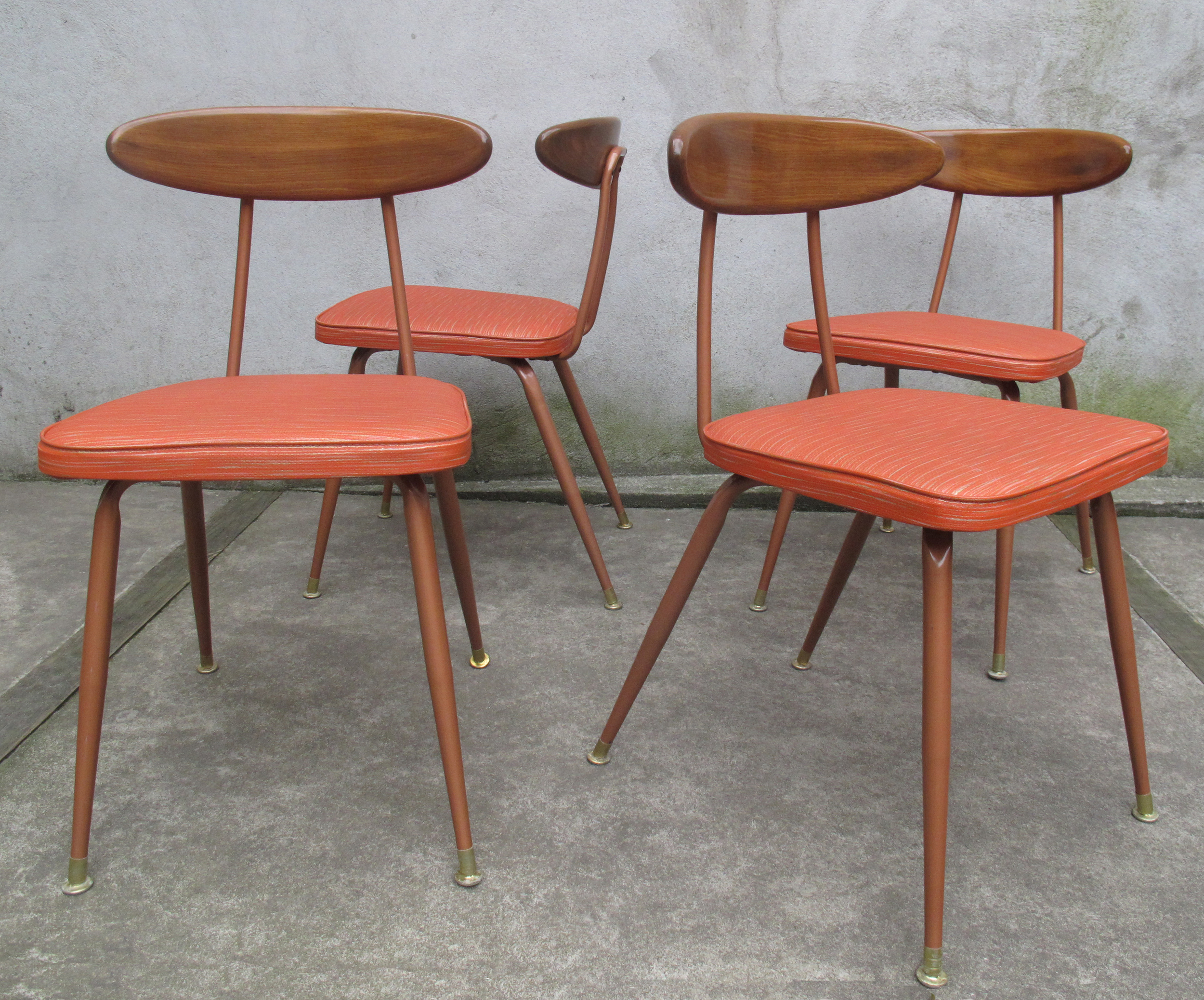 MID CENTURY WOOD AND ALUMINUM DINING CHAIRS BY VIKO (BAUMRITTER)