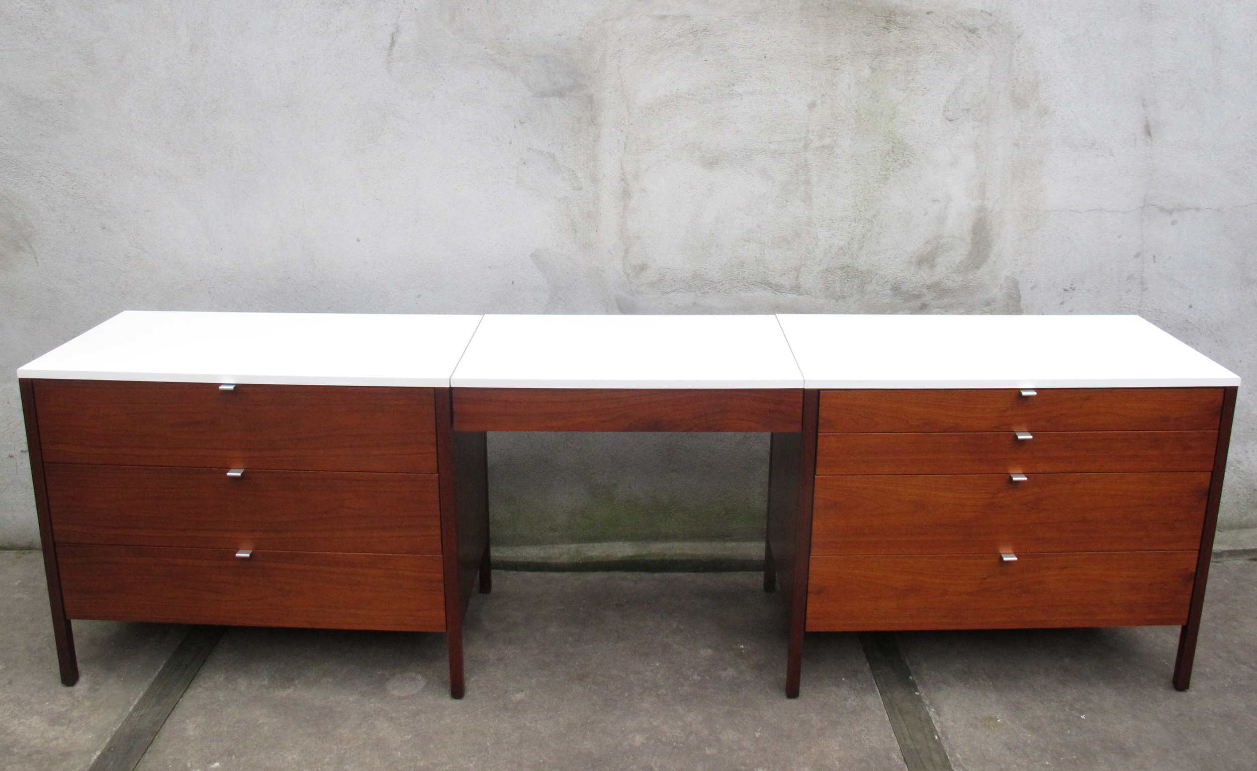 PAIR OF WALNUT CHESTS & VANITY DESK BY FLORENCE KNOLL