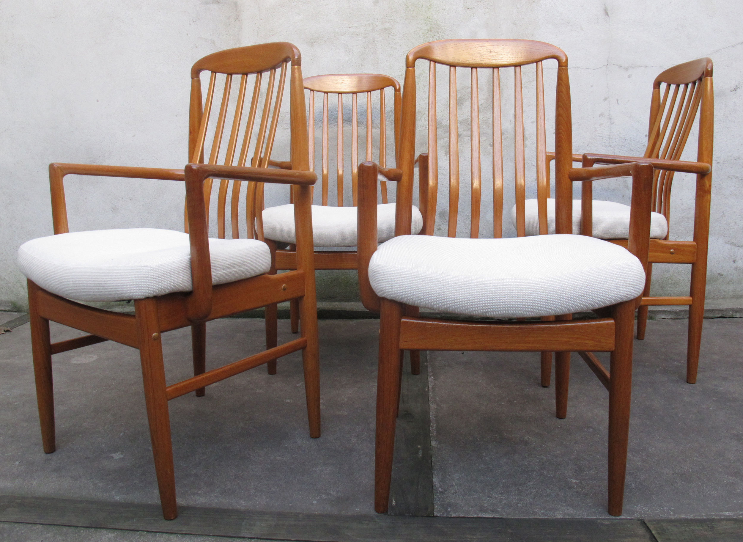 DANISH MODERN TEAK SLAT BACK ARM CHAIRS After G Plan By E GOMME