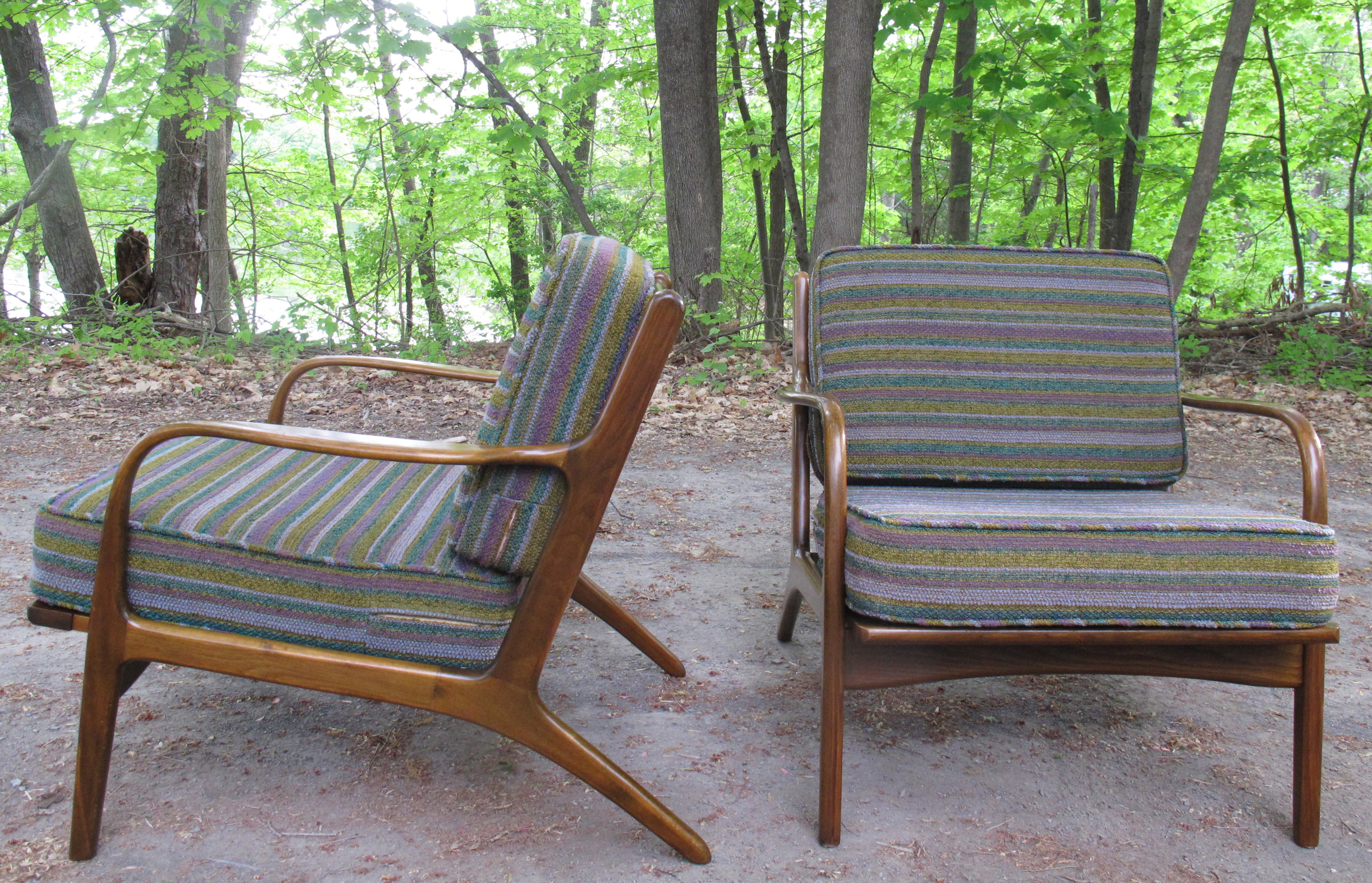 PAIR OF DANISH MODERN SPINDLE BACK LOUNGE CHAIRS