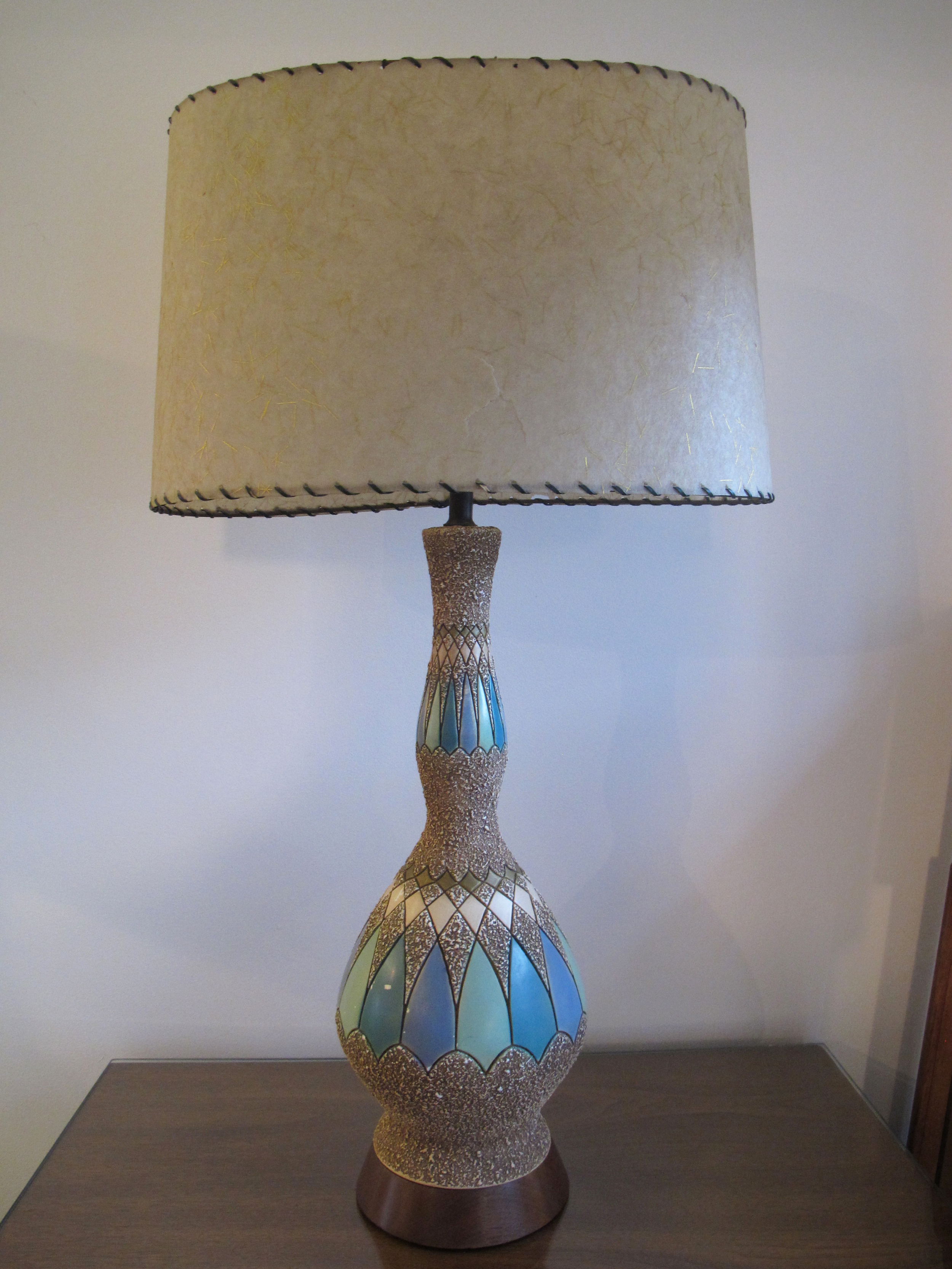 DANISH STYLE CERAMIC LAMP WITH FIBERGLASS SHADE