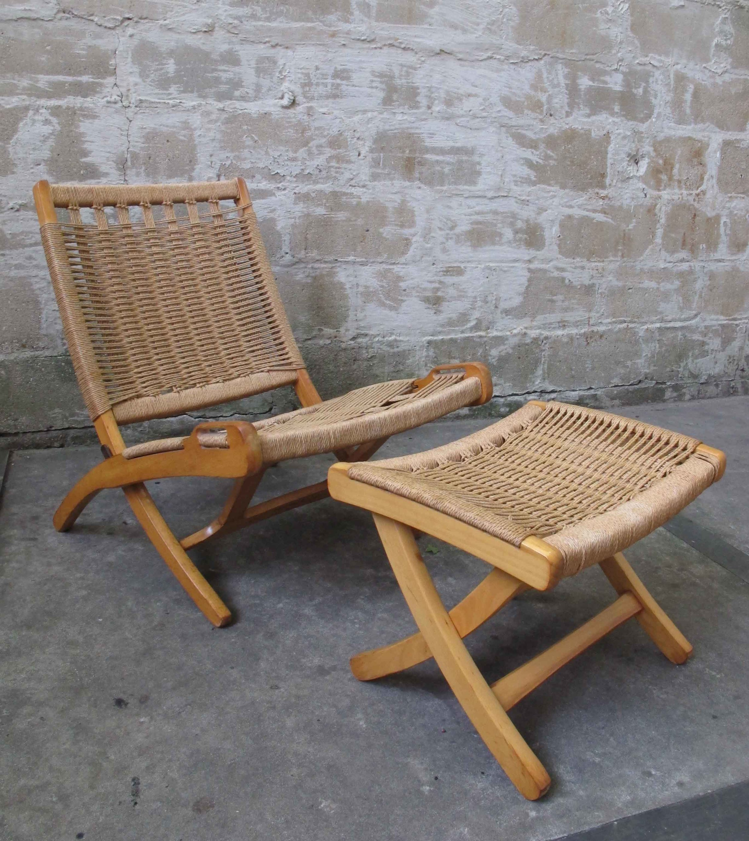 DANISH STYLE FOLDING ROPE CHAIR AND OTTOMAN AFTER HANS WEGNER