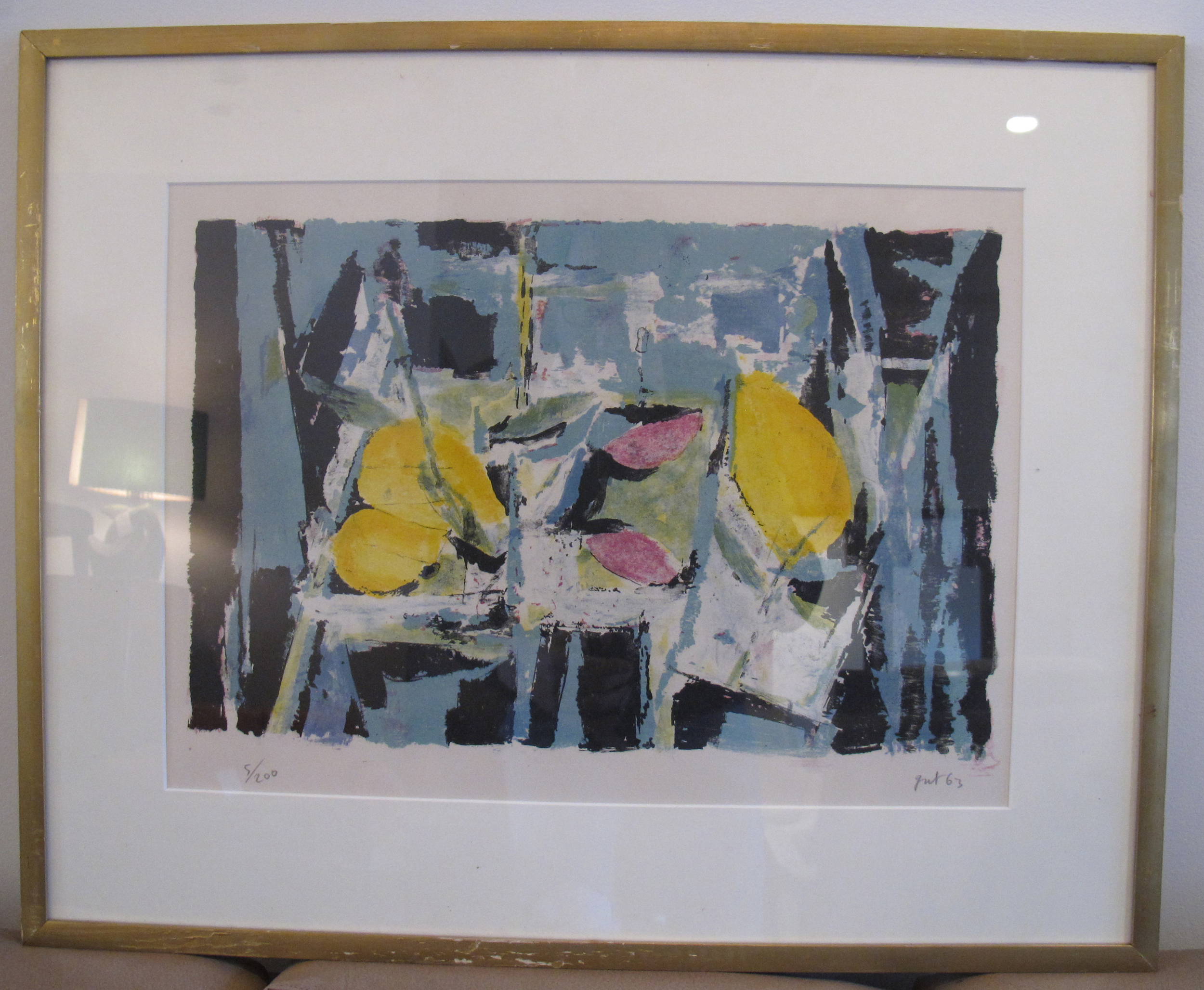 MID CENTURY ABSTRACT LITHOGRAPH 'NATURE MORTE' BY JEAN JACQUES GUT