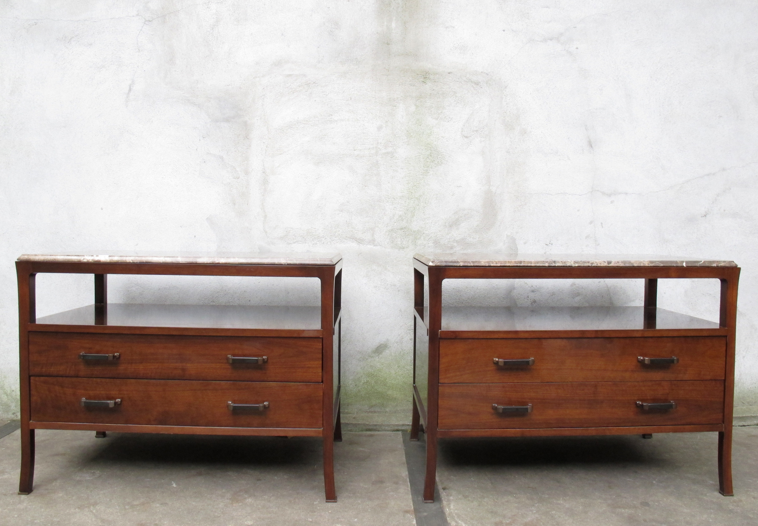 PAIR BAKER STATION CHEST MARBLE NIGHTSTANDS BY BILL SOFIELD