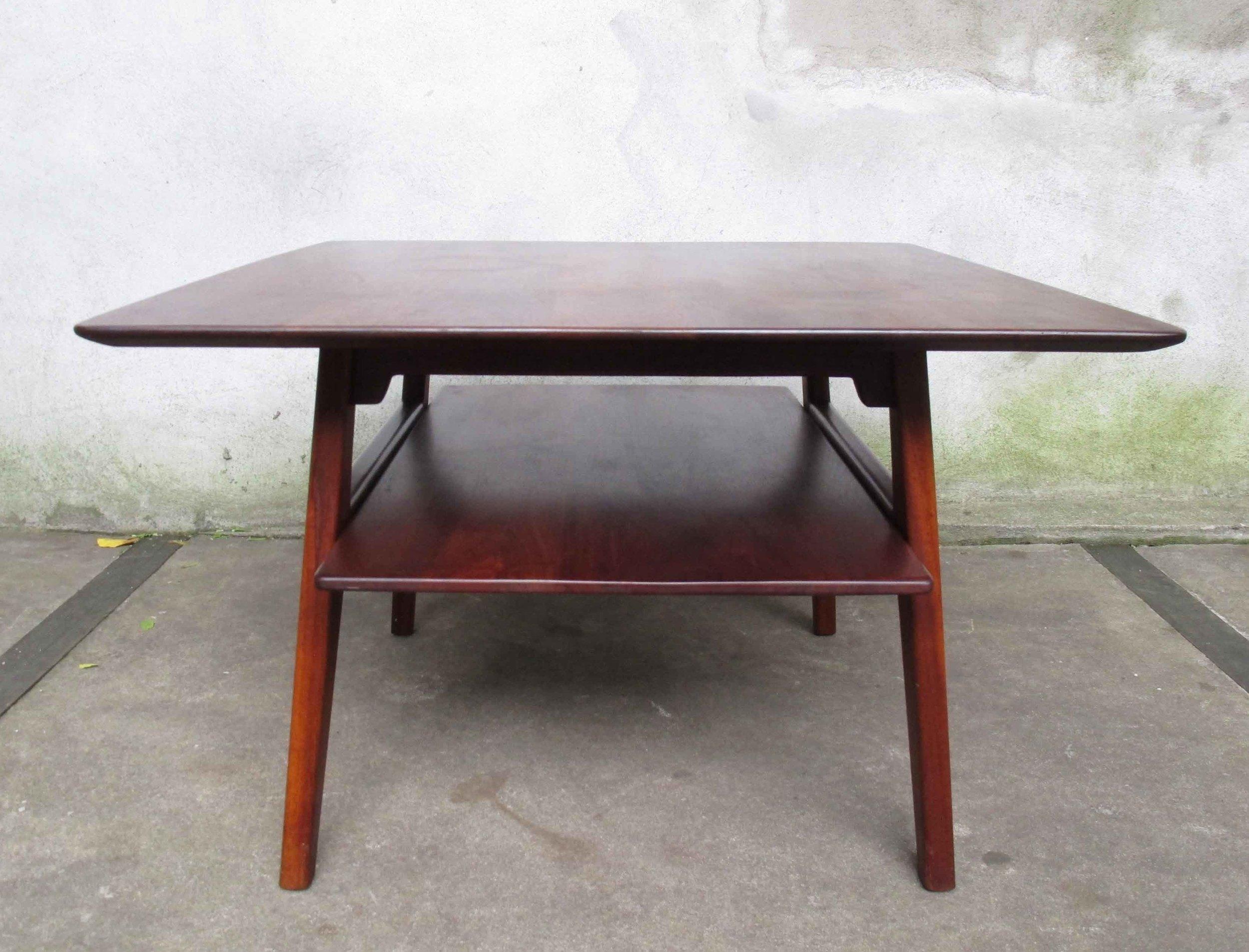MID CENTURY TWO-TIER WALNUT SIDE TABLE BY JENS RISOM