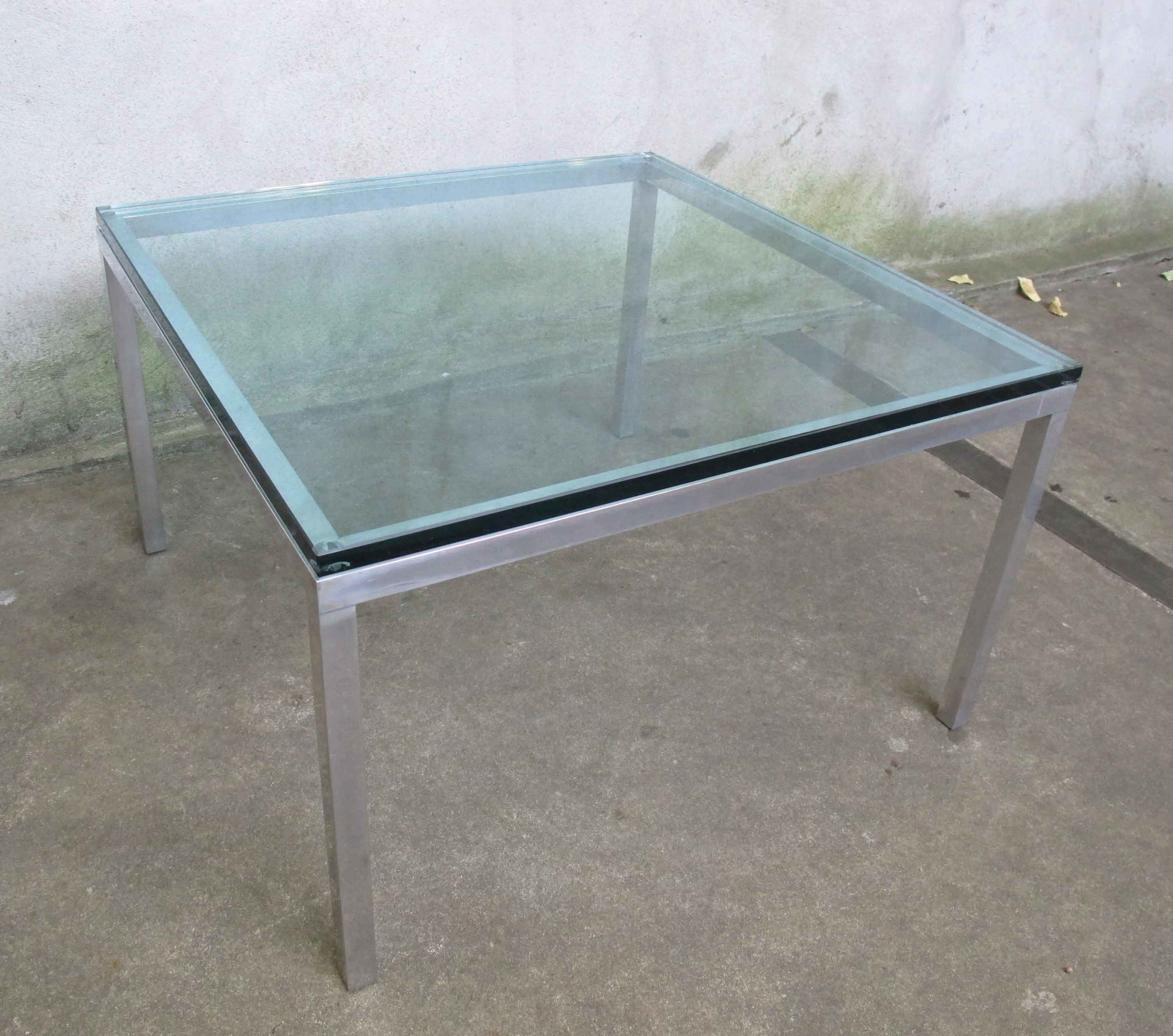 MID CENTURY FLORENCE KNOLL STYLE SQUARE GLASS COFFEE TABLE
