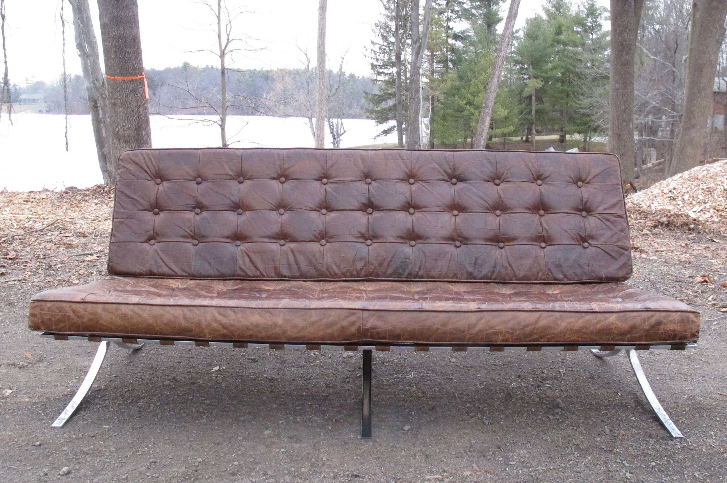 MIES VAN DER ROHE BARCELONA STYLE LEATHER SOFA