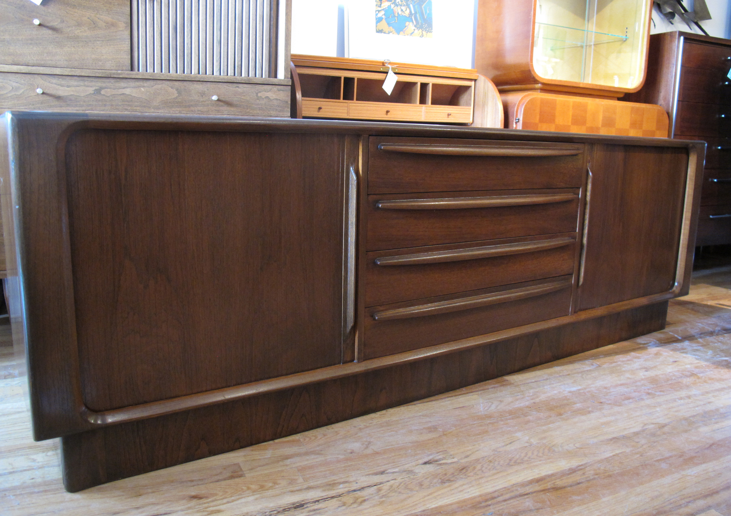 DANISH BERNHARD PEDERSEN AND SON DARK TEAK CREDENZA FOR MAURICE VILLENCY