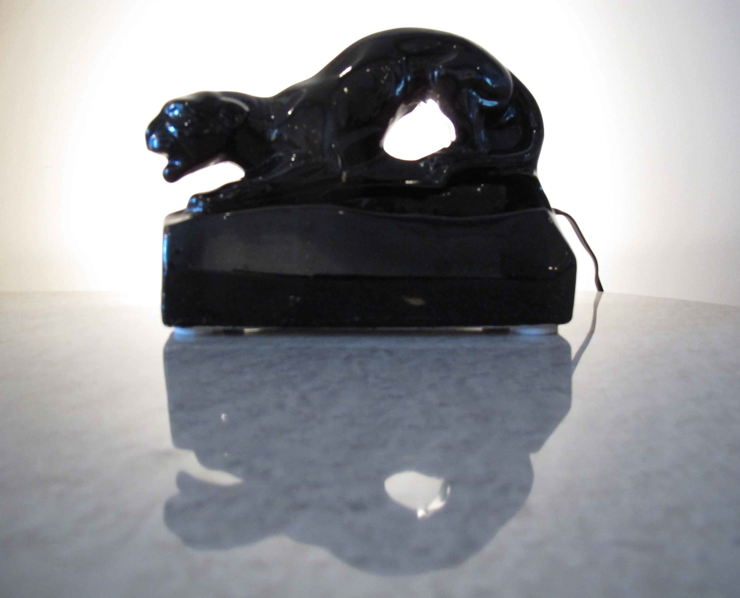 MID CENTURY BLACK CERAMIC PANTHER TV LAMP AND PLANTER