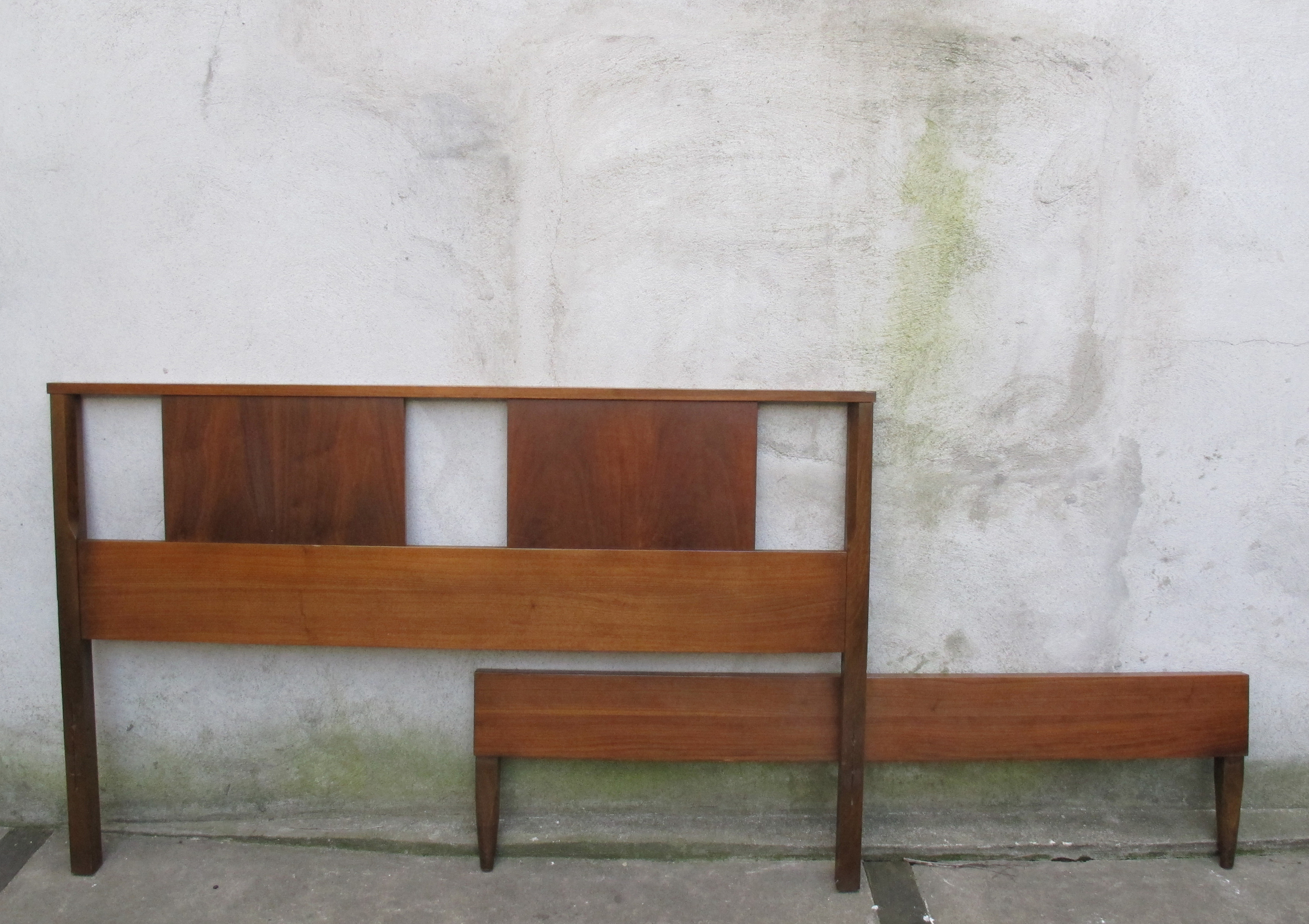 MID CENTURY FULL SIZE WALNUT HEADBOARD & FOOTBOARD