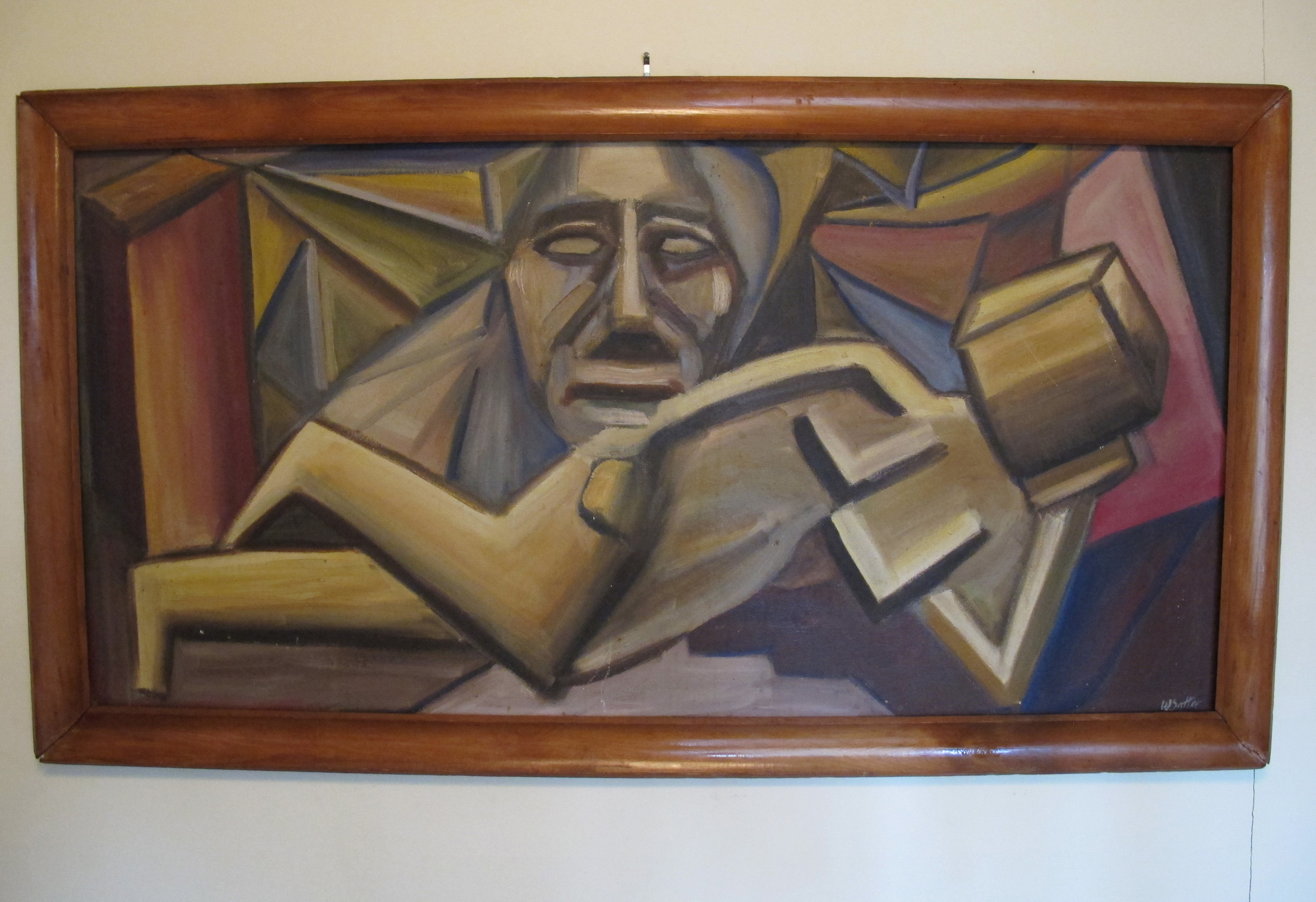 MID CENTURY CUBIST INFLUNCED PAINTING ON BOARD BY WARREN SATTER