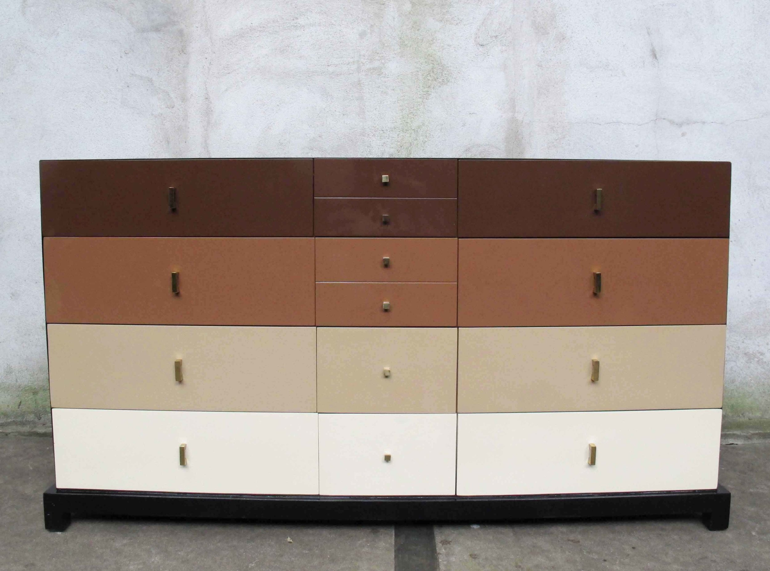 MID CENTURY MULTI-TONED LACQUER LONG DRESSER