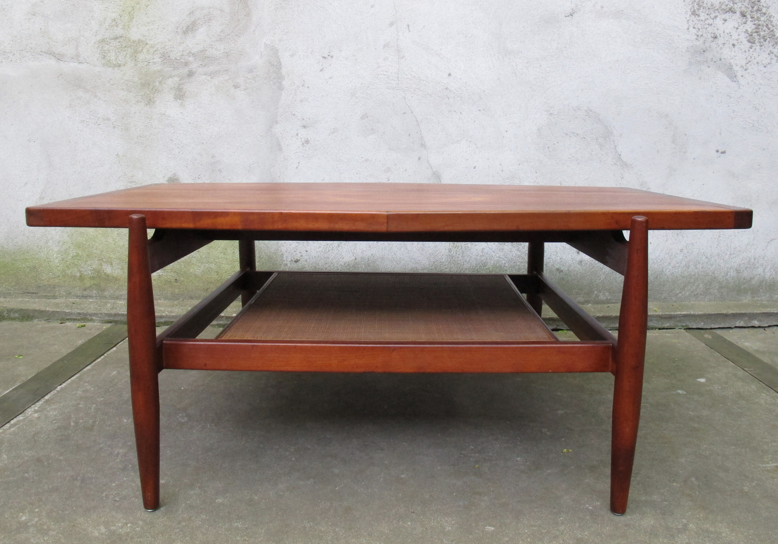 MID CENTURY WALNUT & CANE COFFEE TABLE BY JENS RISOM