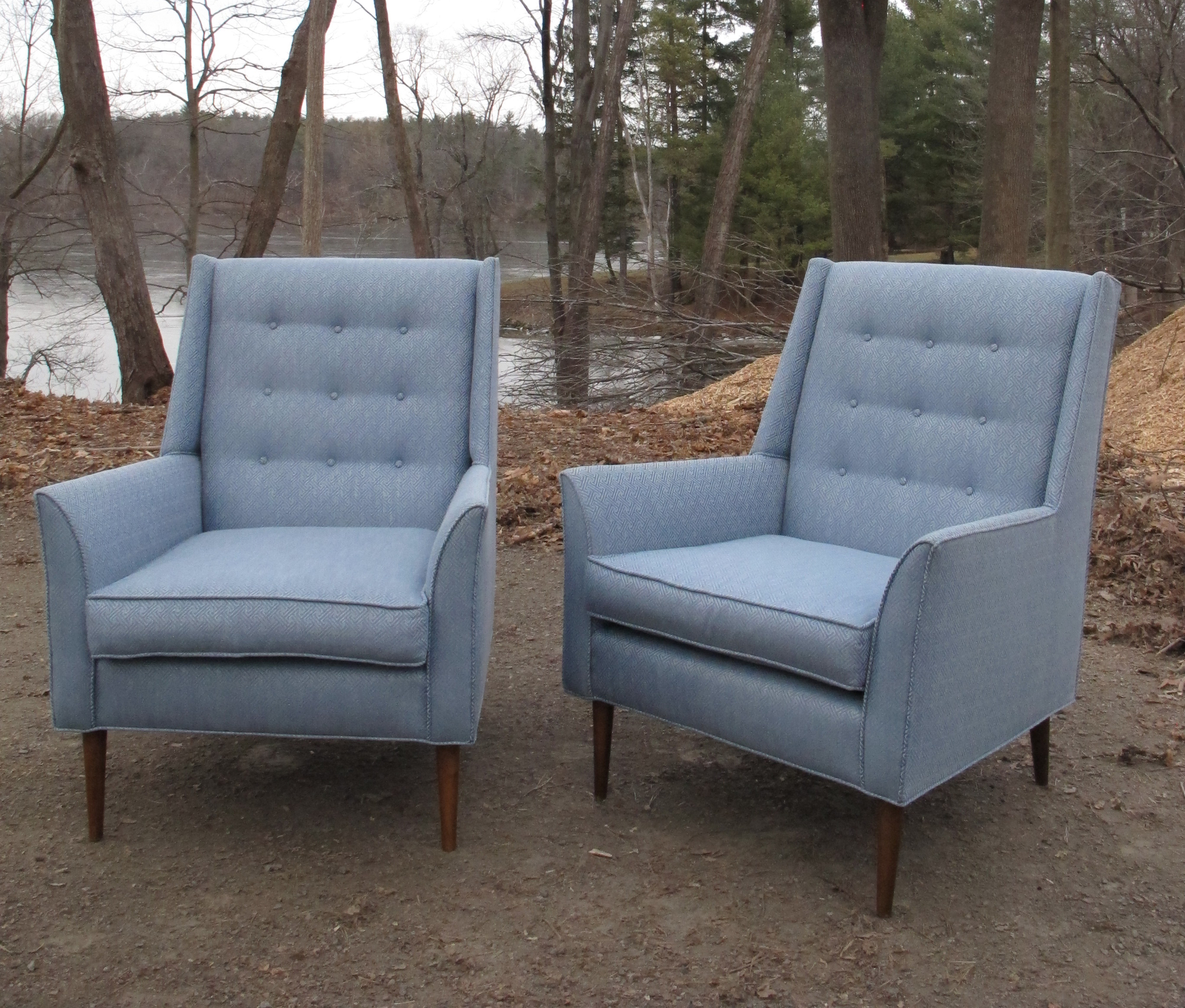 PAIR OF MID CENTURY HIGH BACK WING LOUNGE CHAIRS AFTER PAUL MCCOBB