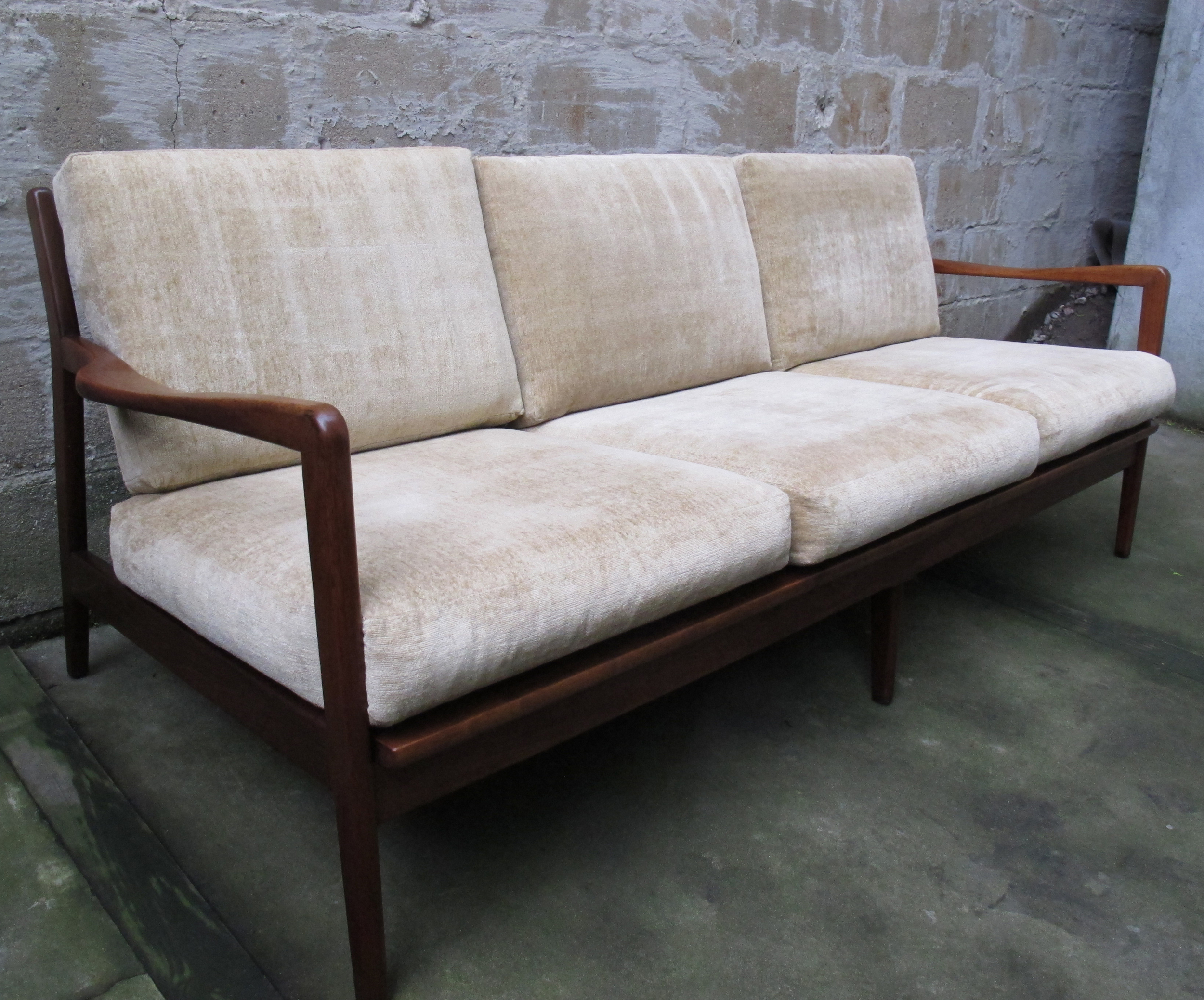 DANISH MODERN THREE SEAT WALNUT SOFA AFTER KOFOD LARSEN