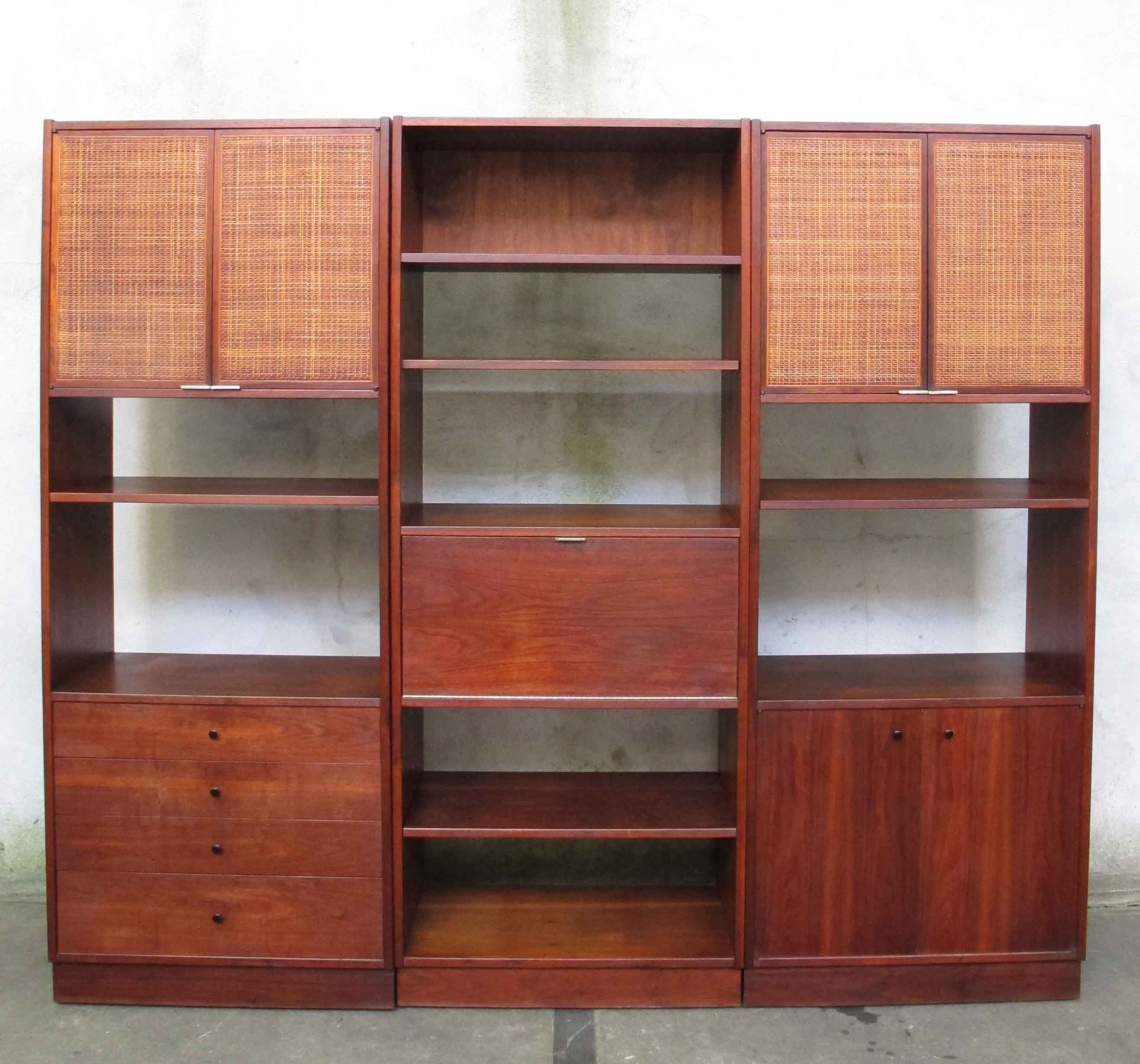 MID CENTURY WALNUT CANE MODULAR WALL UNIT BY FOUNDERS