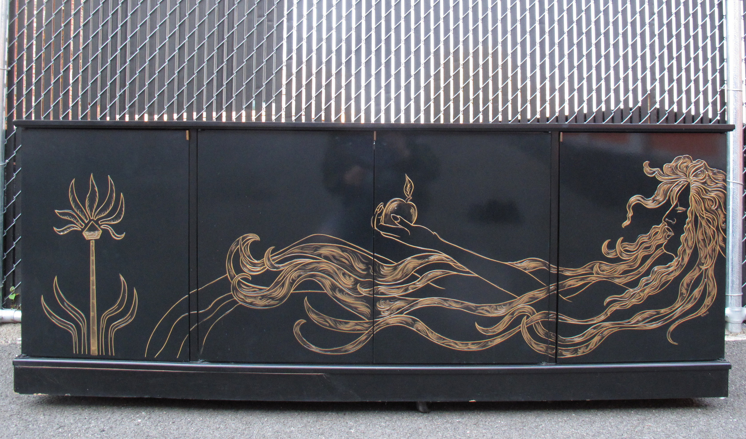 HOLLYWOOD REGENCY STYLE BLACK LACQUER CREDENZA BY HABERSHAM
