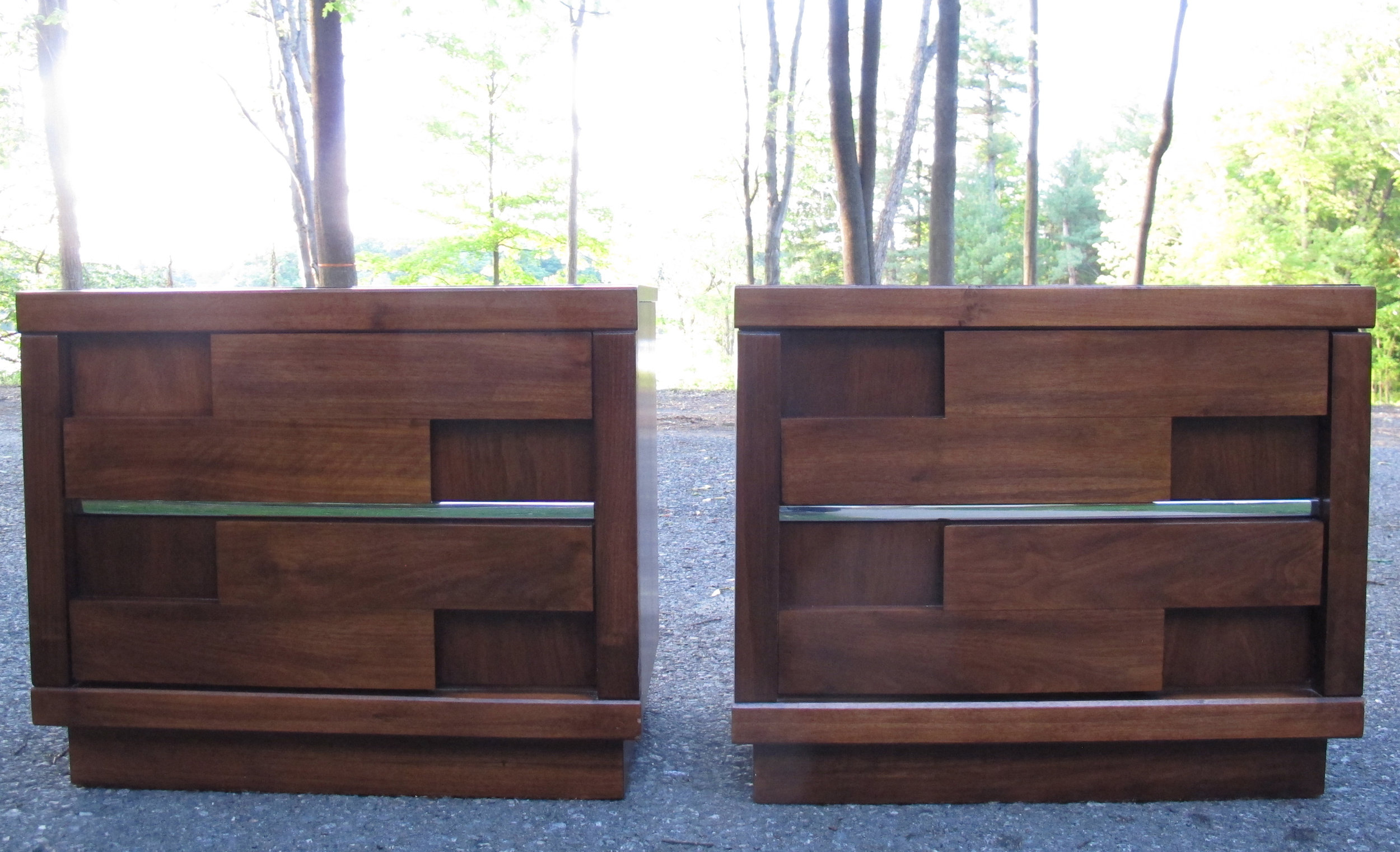 PAIR OF MID CENTURY BRUTALIST NIGHTSTANDS