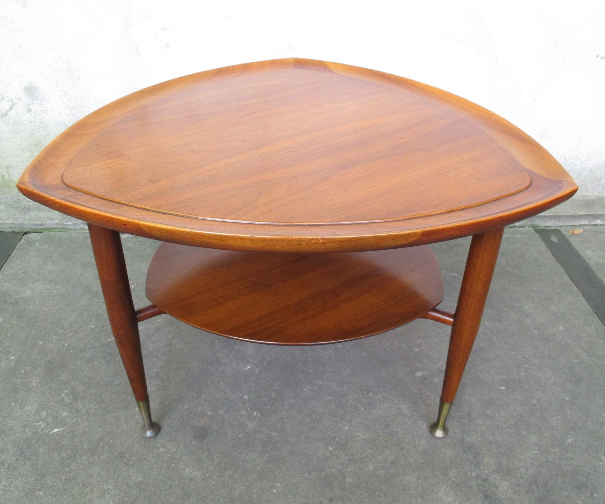 MID CENTURY MODERN WALNUT ATOMIC TWO-TIER SIDE TABLE
