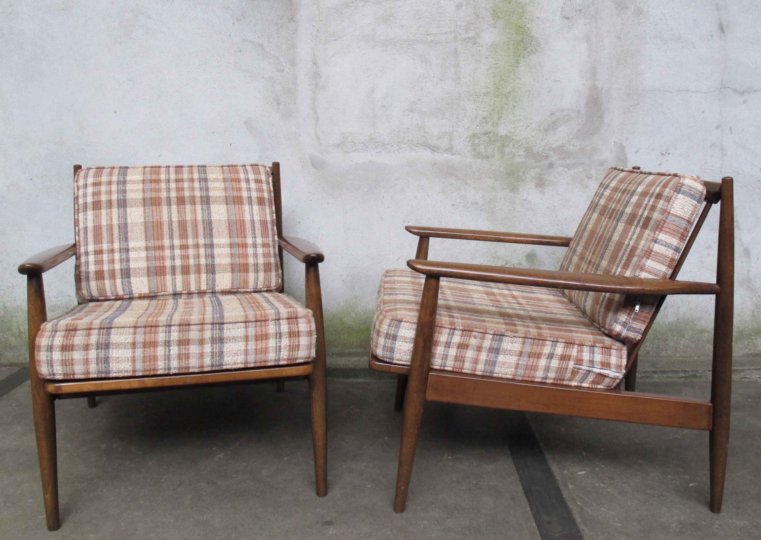 PAIR MID CENTURY SPINDLE BACK ARMCHAIRS