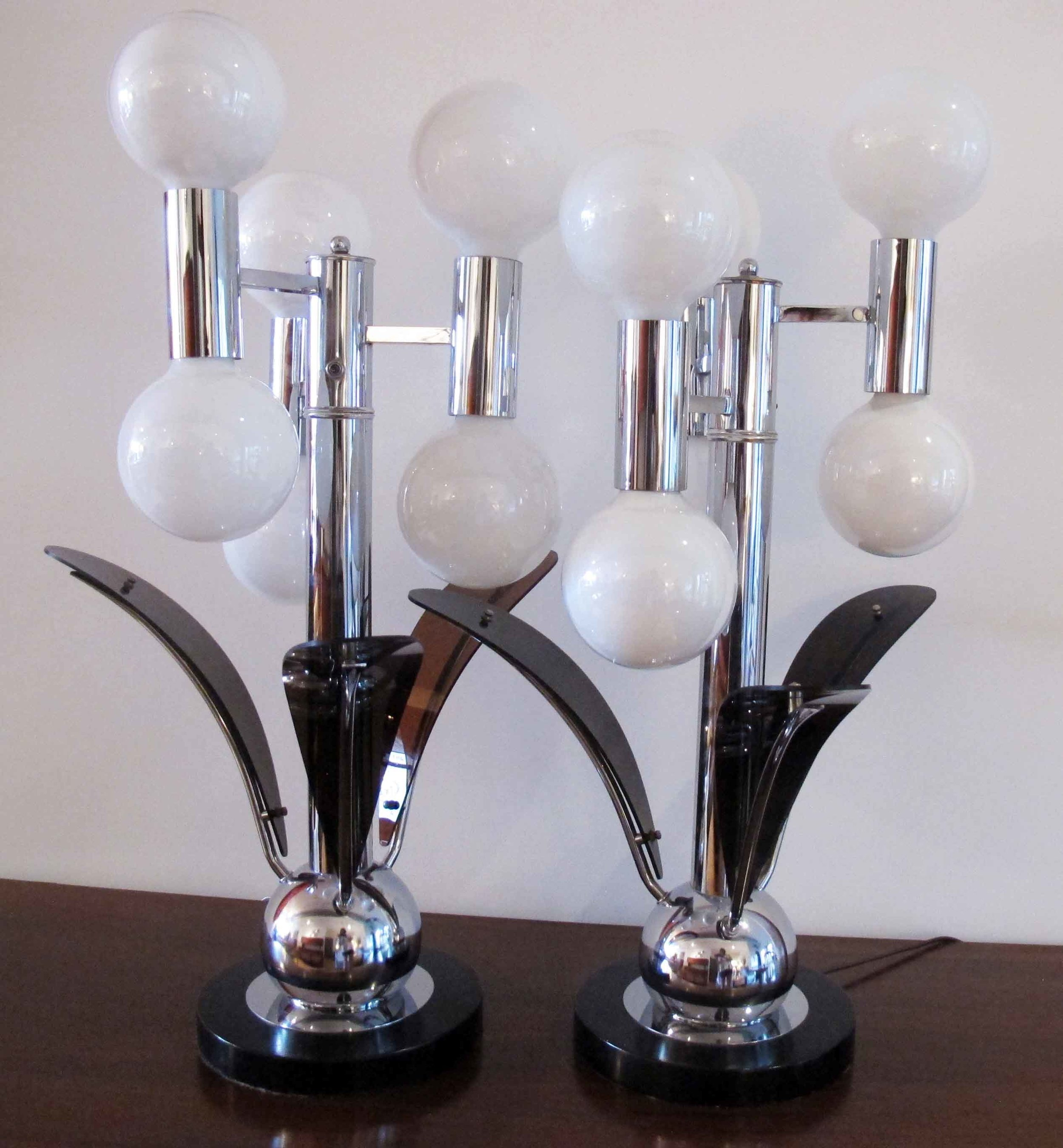 PAIR OF MID CENTURY CHROME BALL LAMPS WITH EBONY ACRYLIC SCULPTURAL PETALS