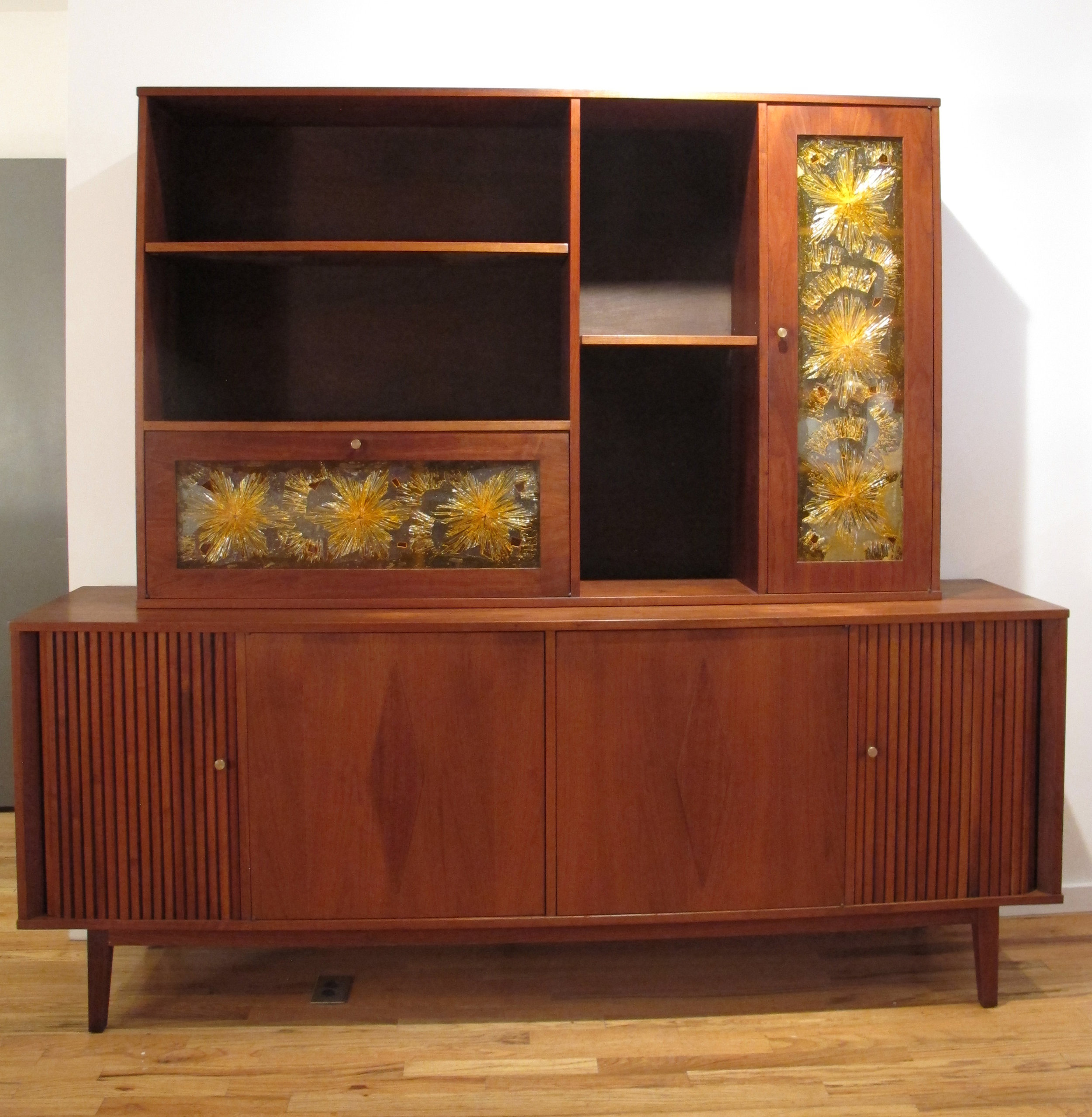 MID CENTURY WALNUT TWO-PIECE CREDENZA WITH TAMBOUR & GLASS DOORS