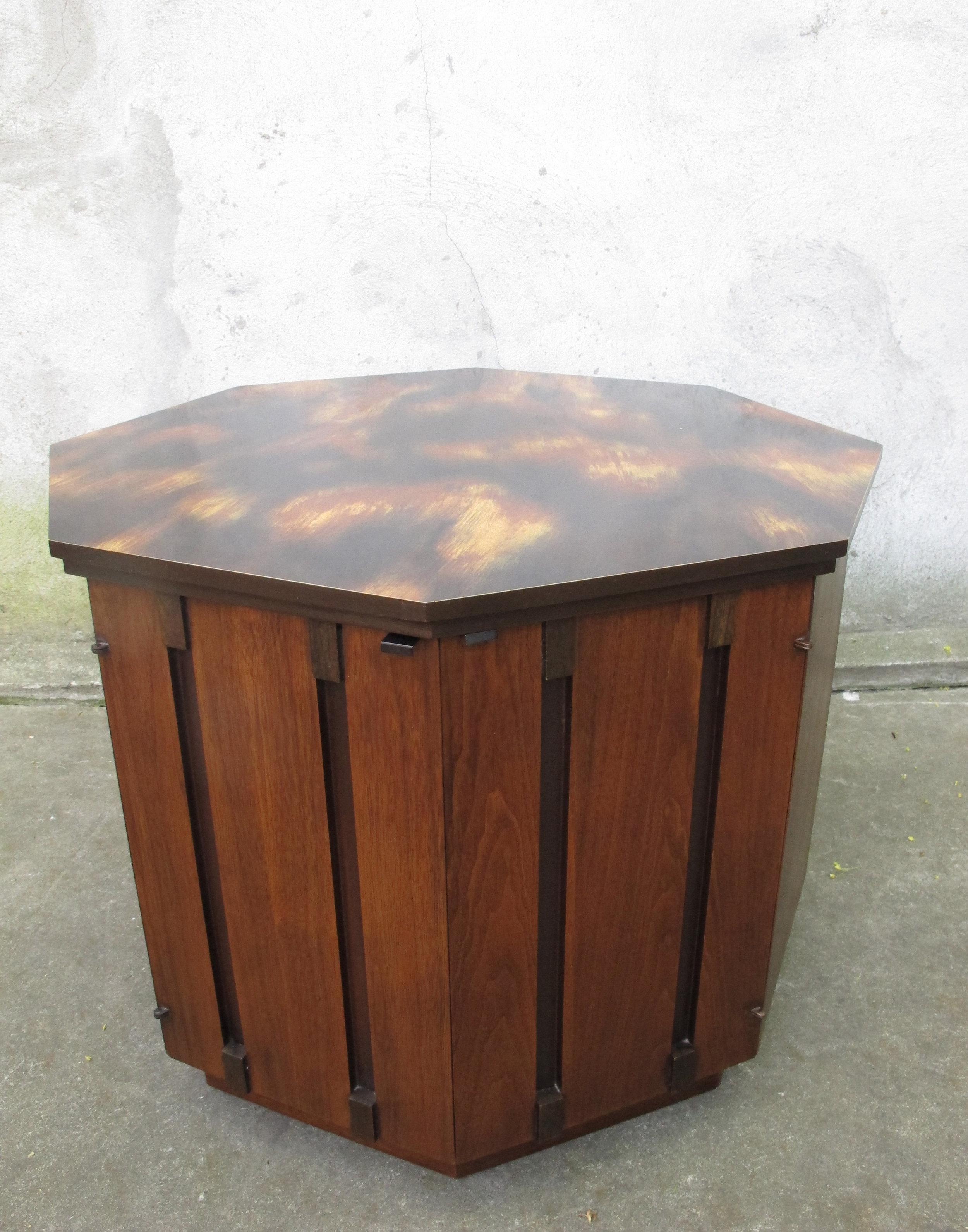 MID CENTURY OCTAGONAL WALNUT SIDE TABLE BY LANE
