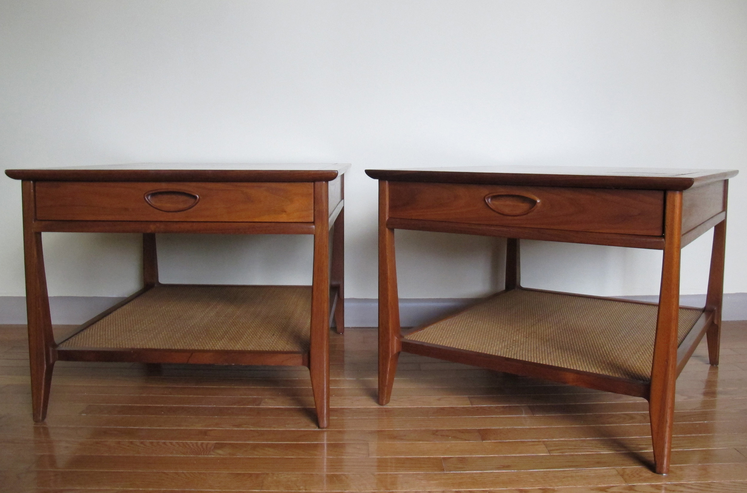 PAIR OF HERITAGE MID CENTURY WALNUT & CANE TWO-TIER END TABLES