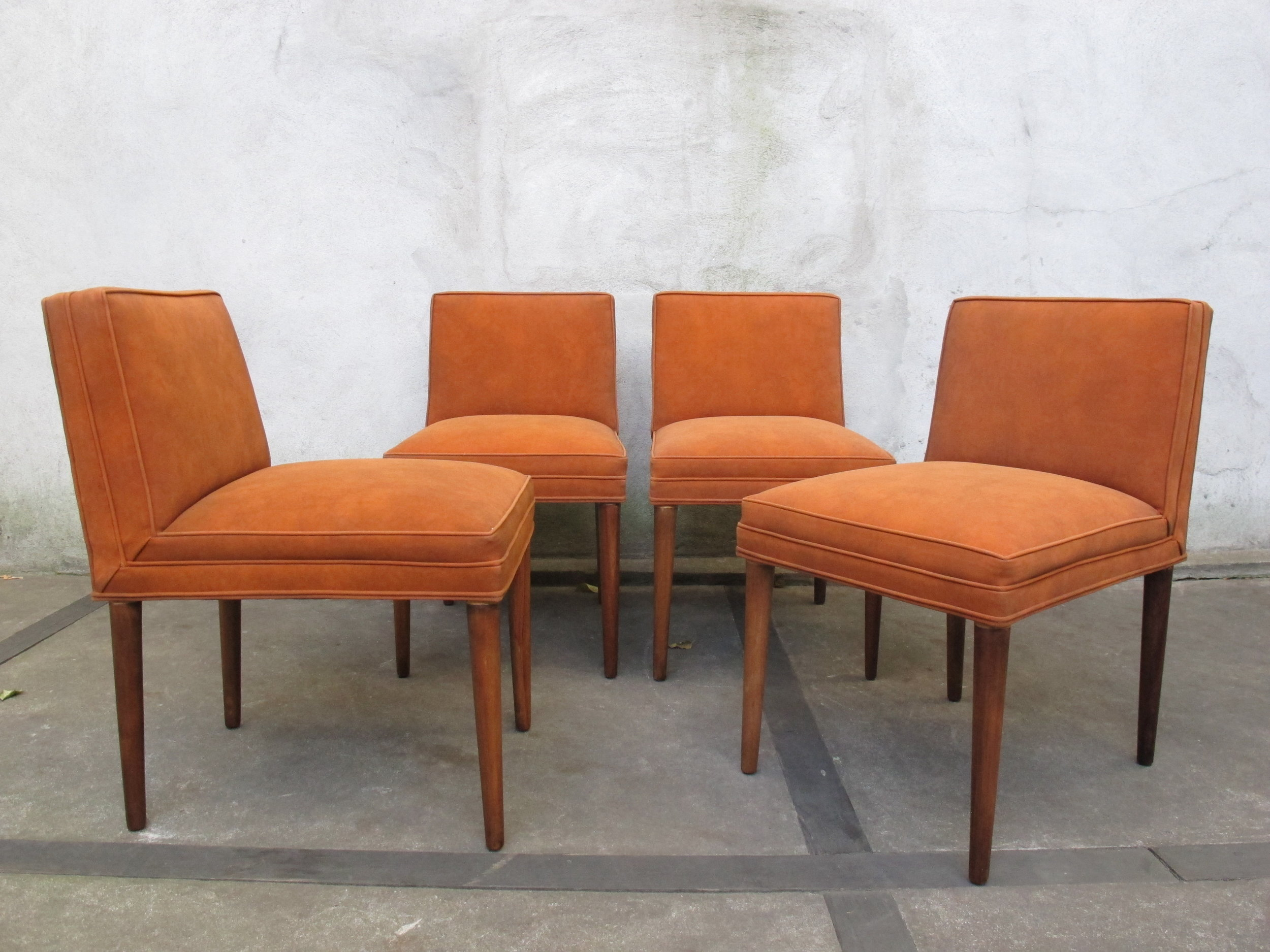 SET OF TOMMI PARZINGER RUST COLORED DINING CHAIRS
