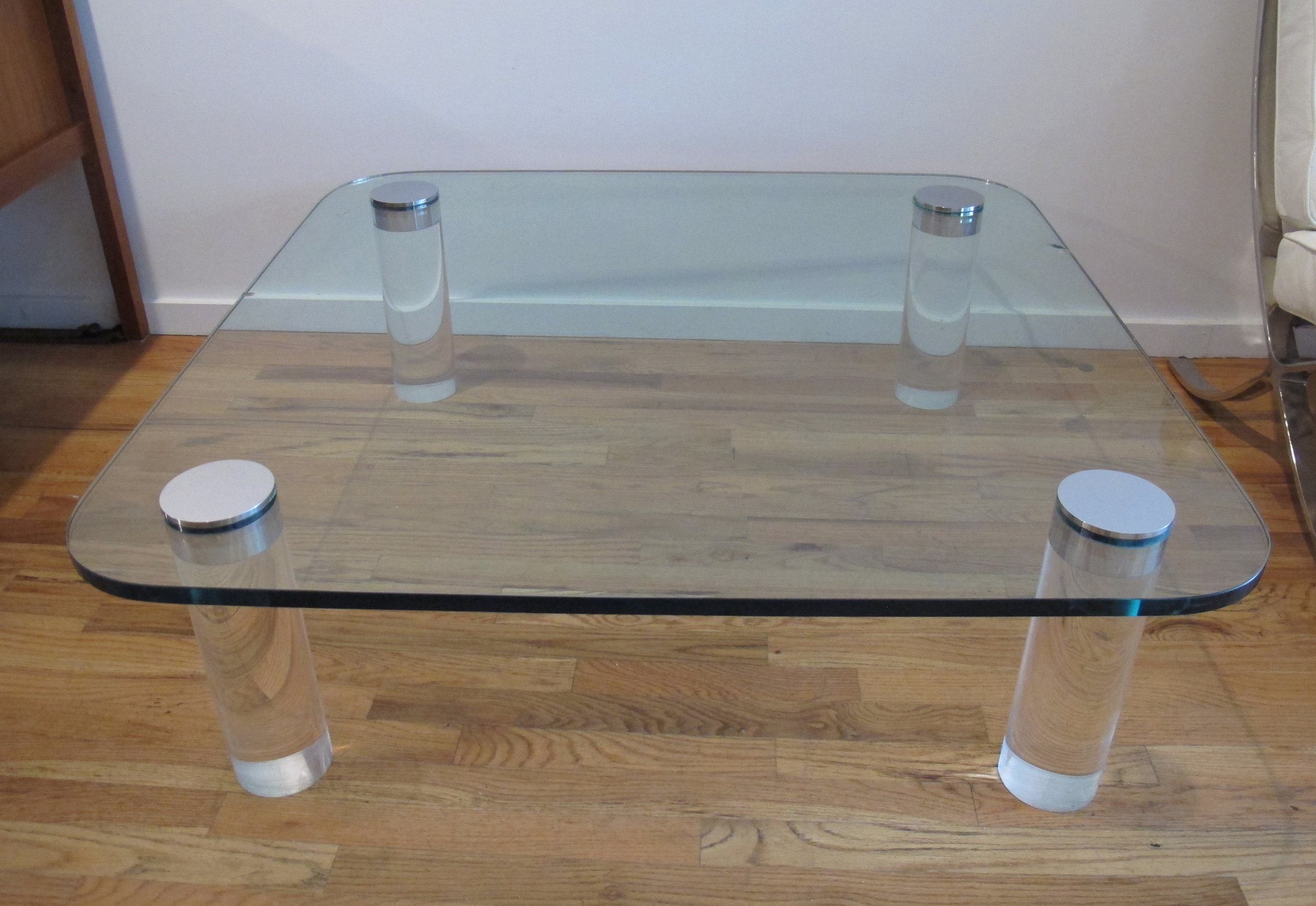 MID CENTURY GLASS AND CHROME LUCITE COFFEE TABLE BY PACE