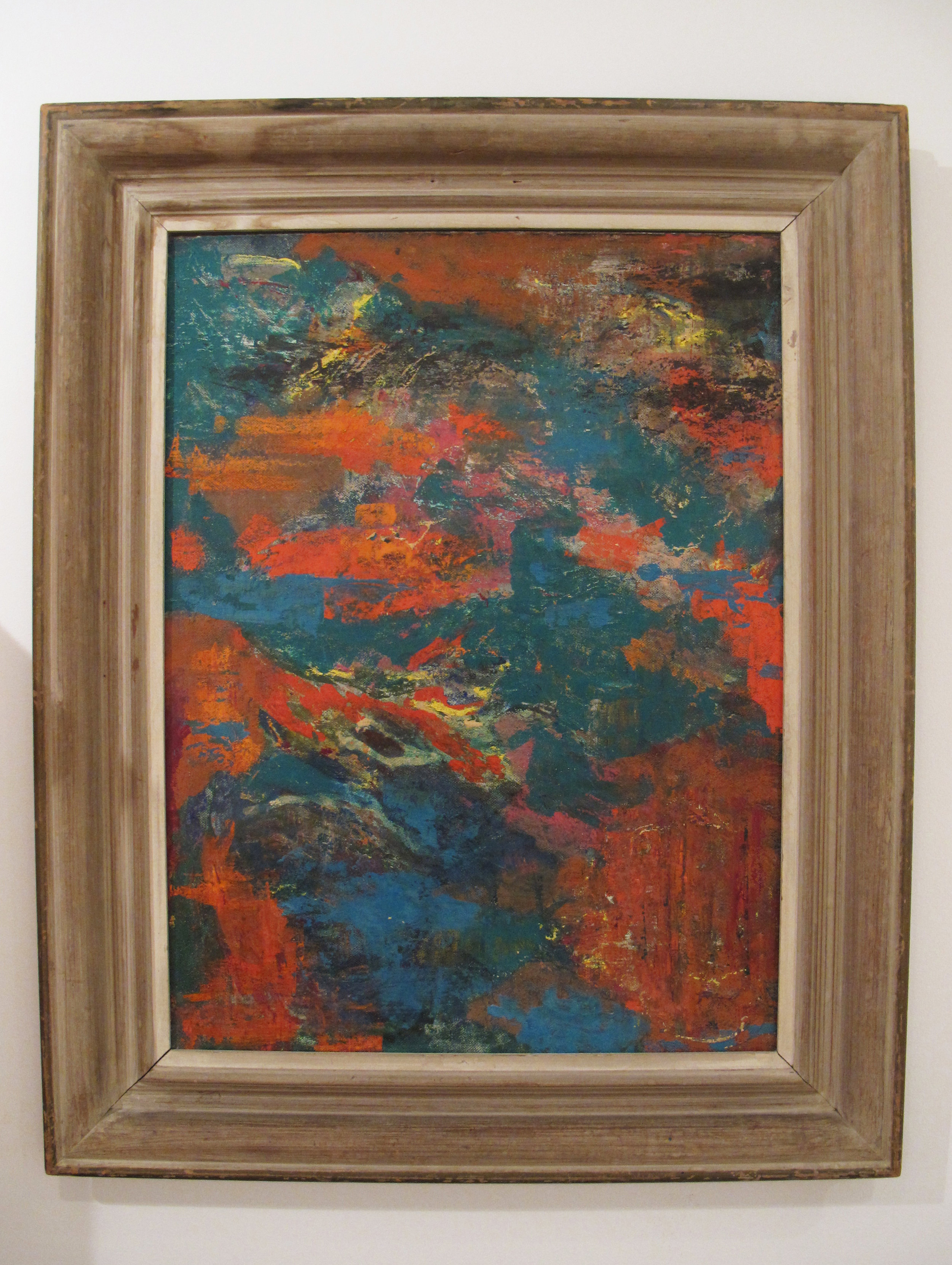 "MID CENTURY ABSTRACT OIL PAINTING ""SKY"" BY MARGARET PALMER 1951"