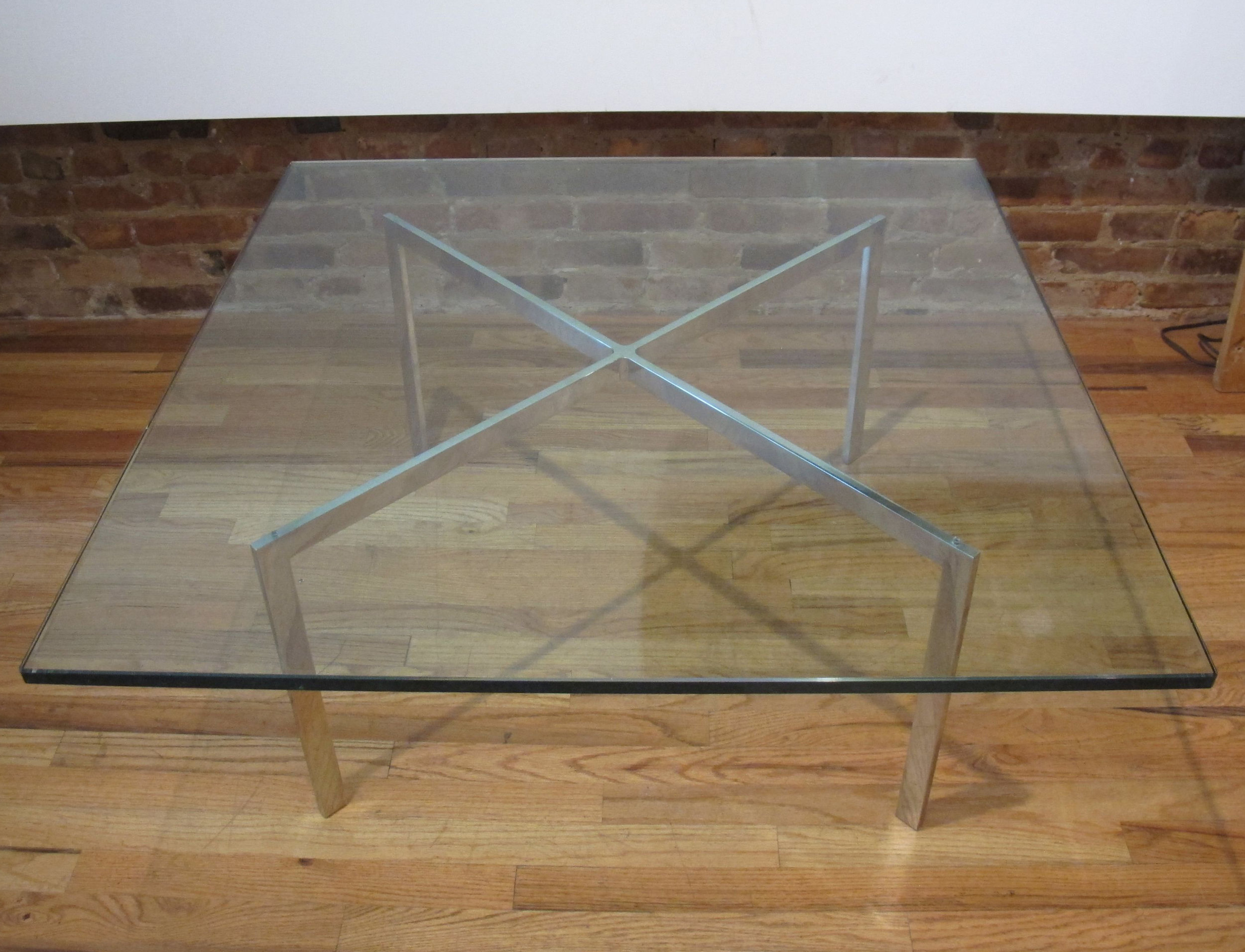 KNOLL BARCELONA GLASS & STEEL COFFEE TABLE BY MIES VAN DER ROHE