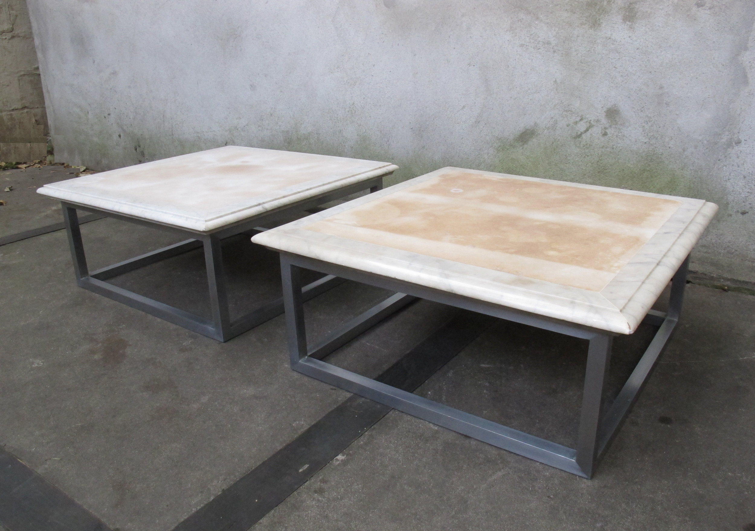 PAIR OF MARBLE & STEEL END TABLES BY GEORGE CIANCIMINO
