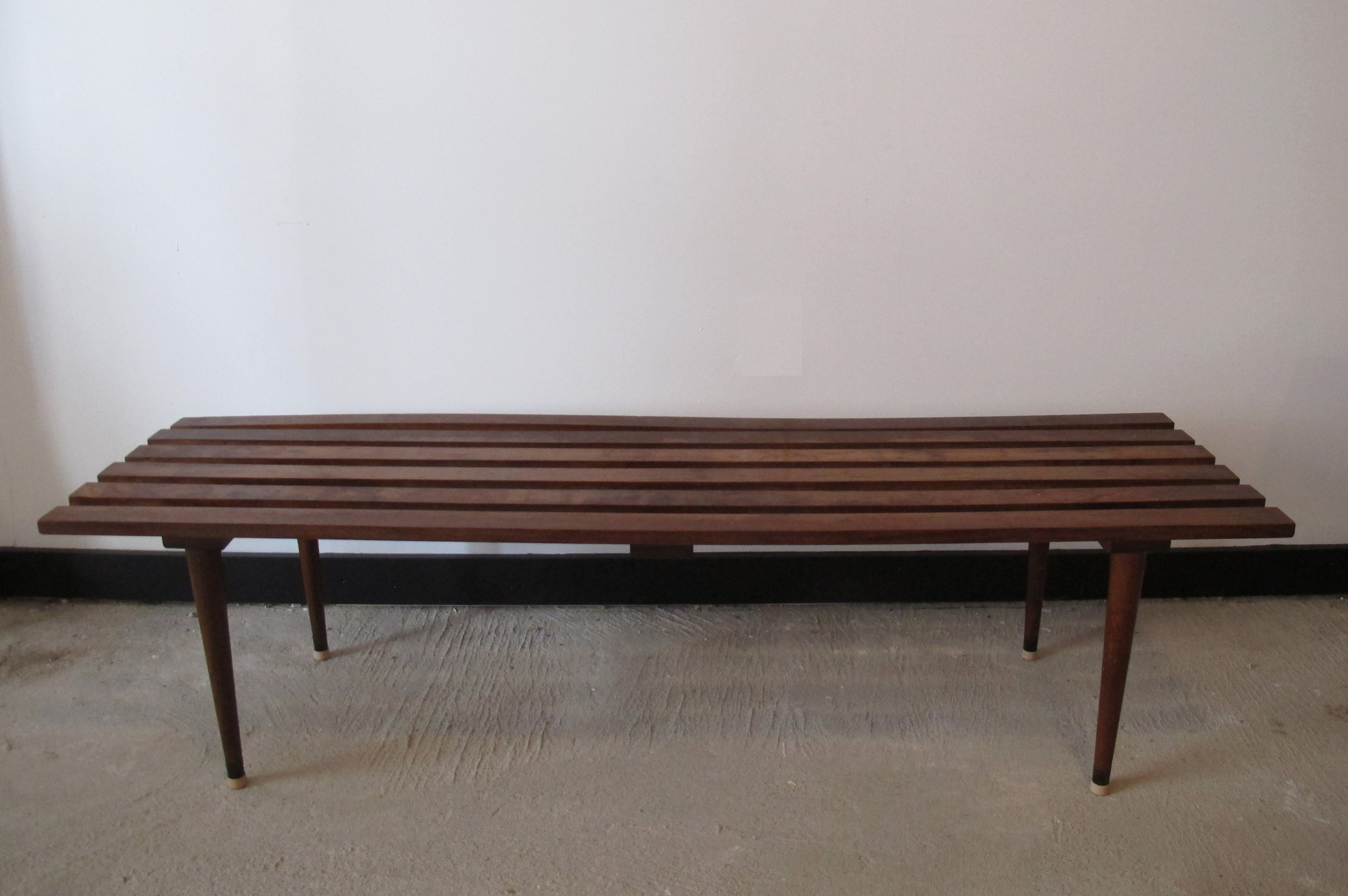 MID CENTURY FIVE-FOOT SLAT BENCH