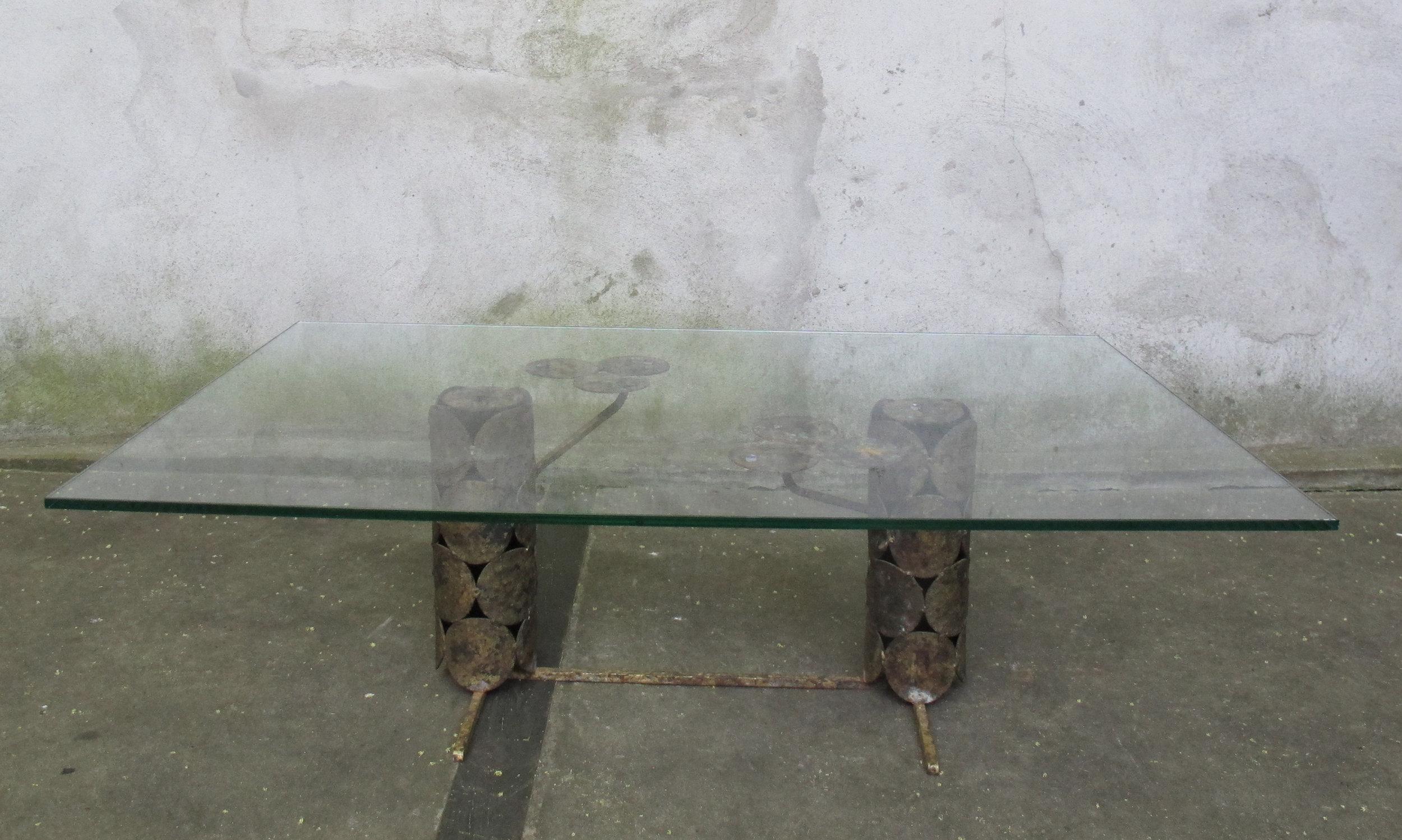 MID CENTURY BRUTALIST GLASS & METAL COFFEE TABLE AFTER SILAS SEANDEL