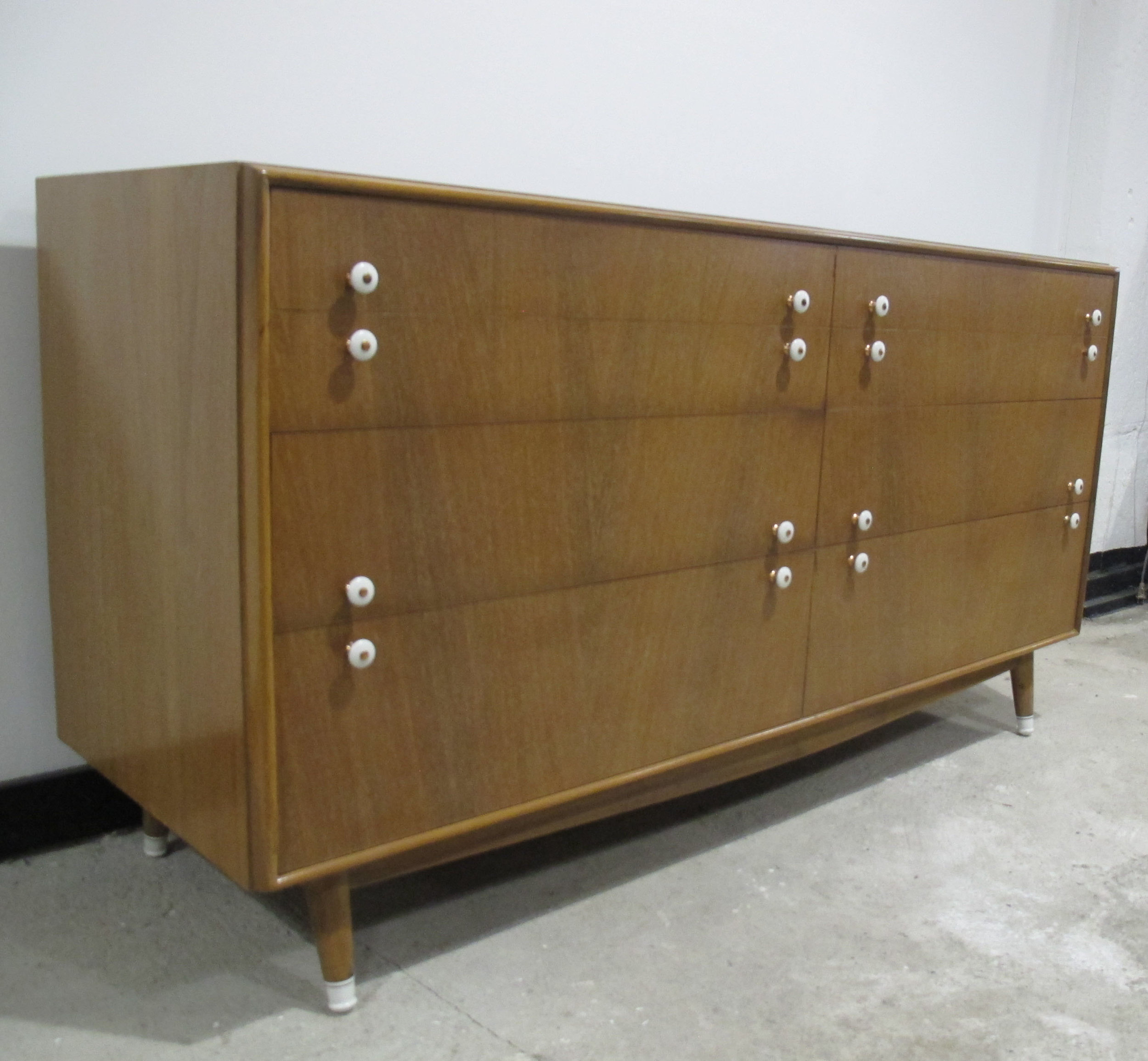 MID CENTURY SIX DRAWER LONG DRESSER BY RED LION FURNITURE
