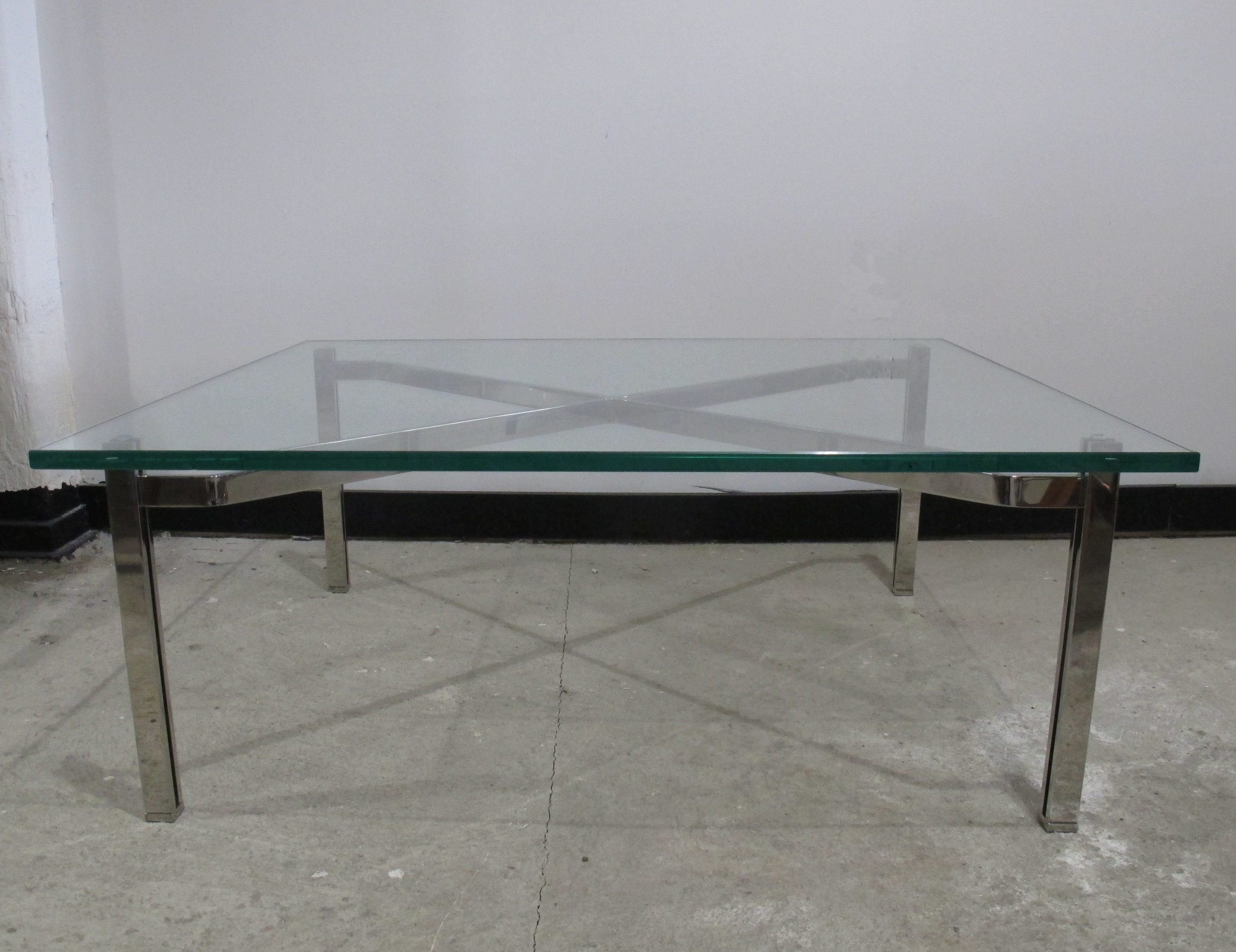 BARCELONA STYLE CHROME & GLASS COFFEE TABLE