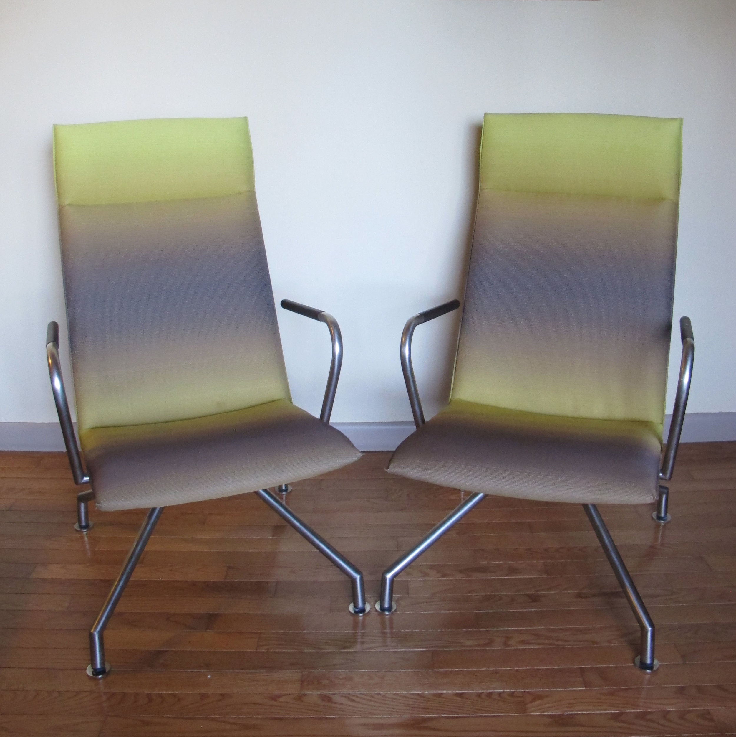 PAIR OF BURKHARD VOGTHERR HIGH BACK MIKADO LOUNGE CHAIRS BY DAVIS