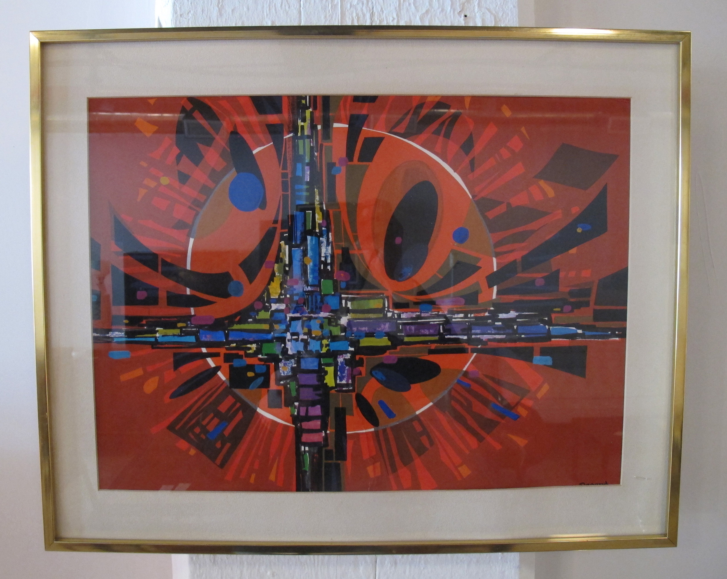 FRAMED ABSTRACT ACRYLIC ON PAPER BY MICHAEL DEGAND