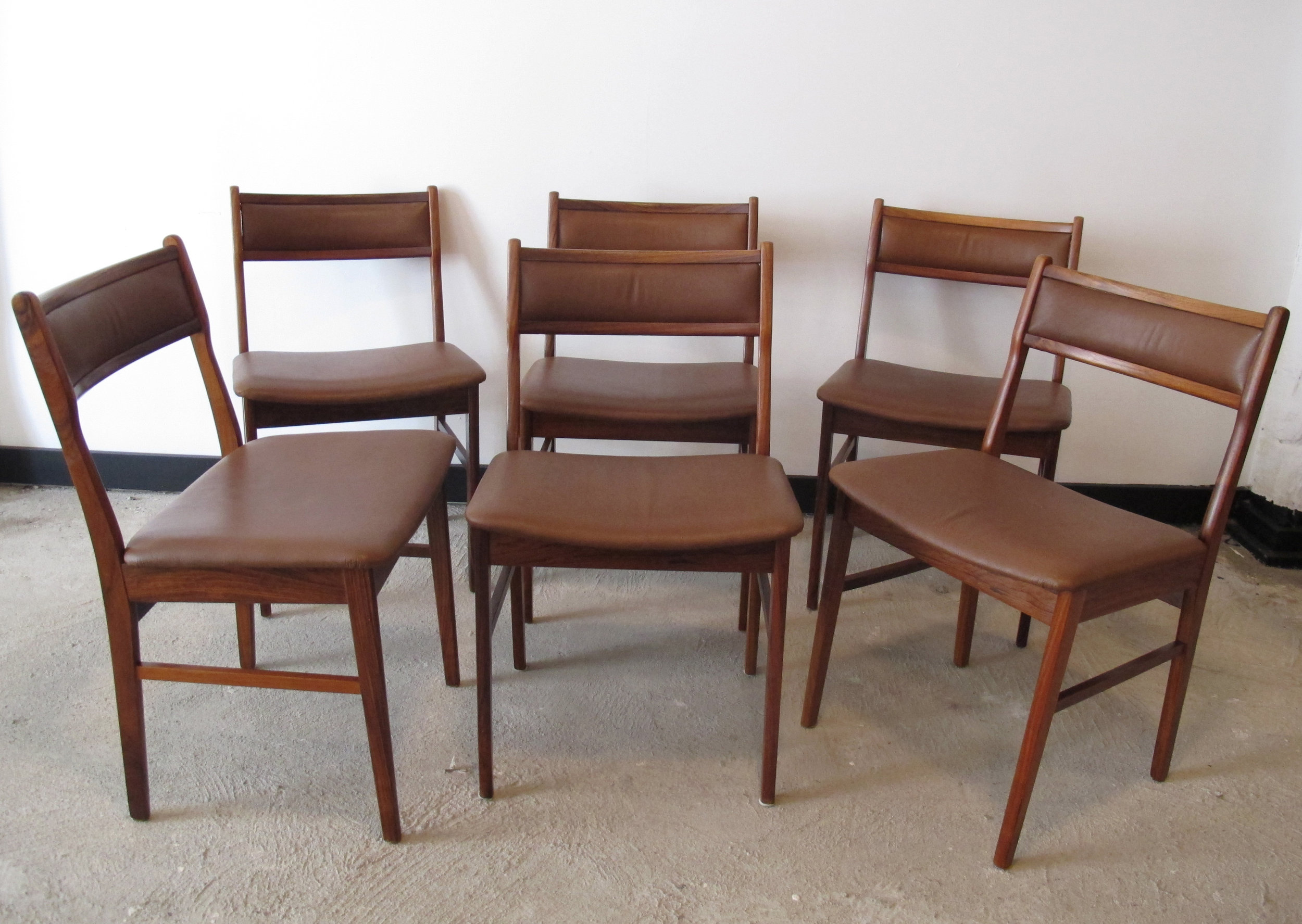SET OF DANISH ROSEWOOD & LEATHER DINING CHAIRS BY VESTERVIG ERIKSEN