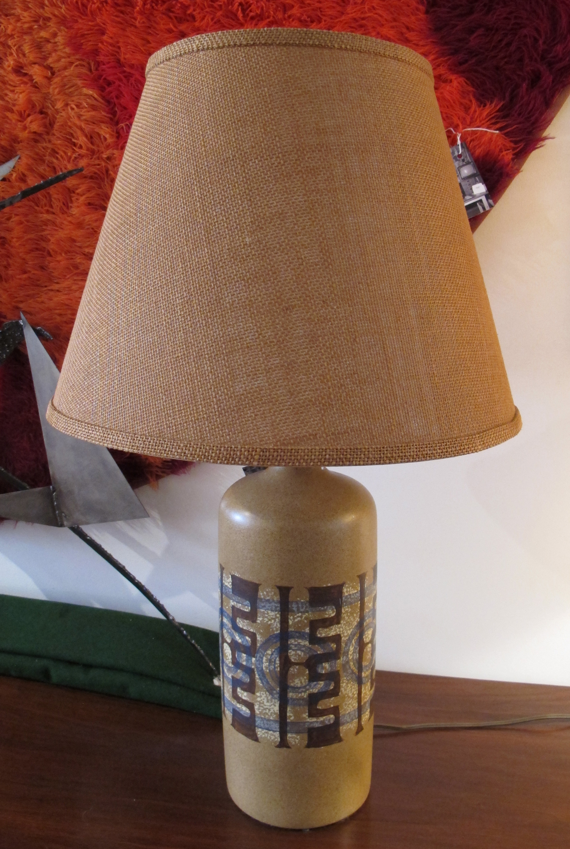 DANISH MODERN STYLE CYLINDRICAL LAMP WITH BURLAP SHADE