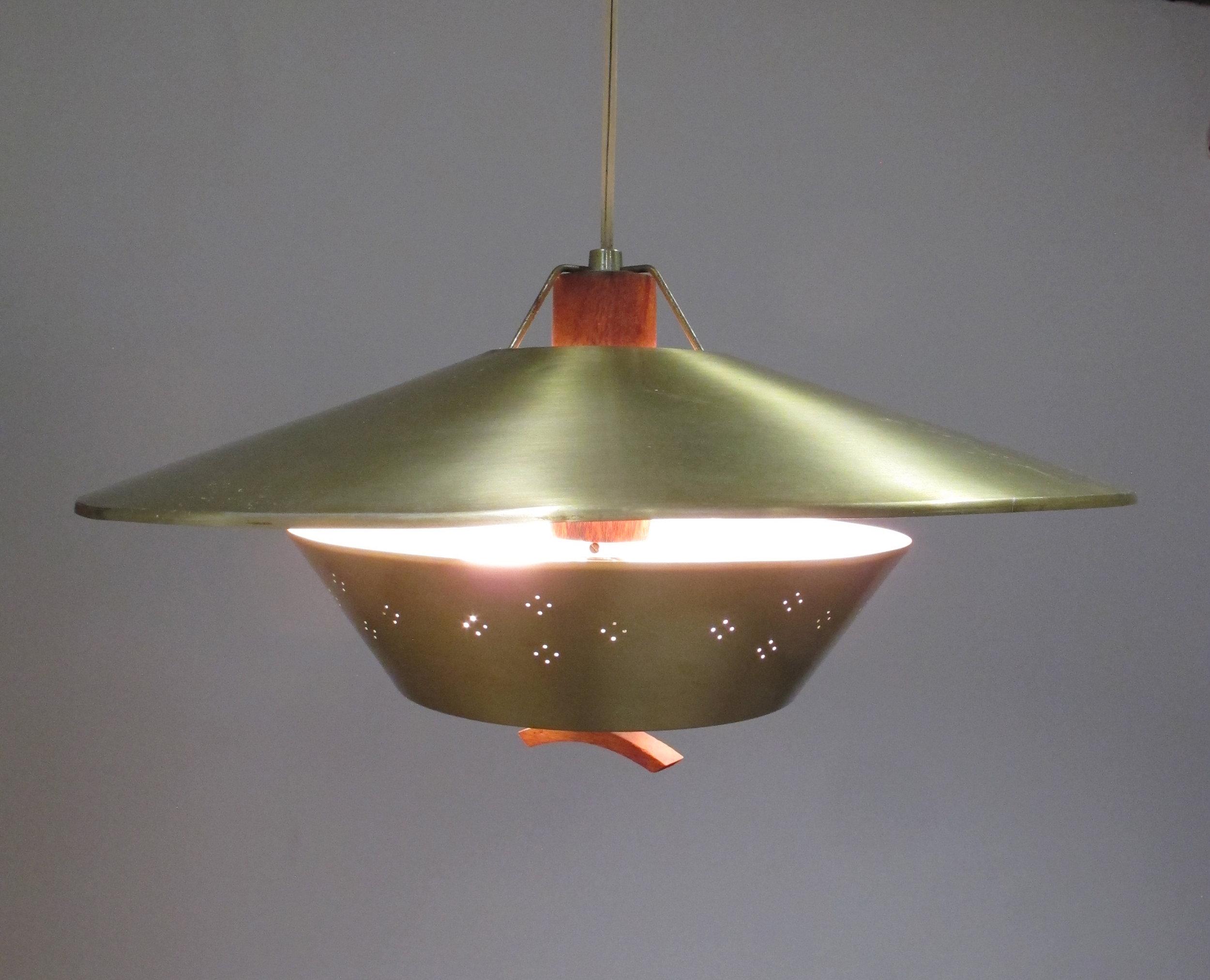 MID CENTURY ATOMIC METAL & WALNUT HANGING LAMP