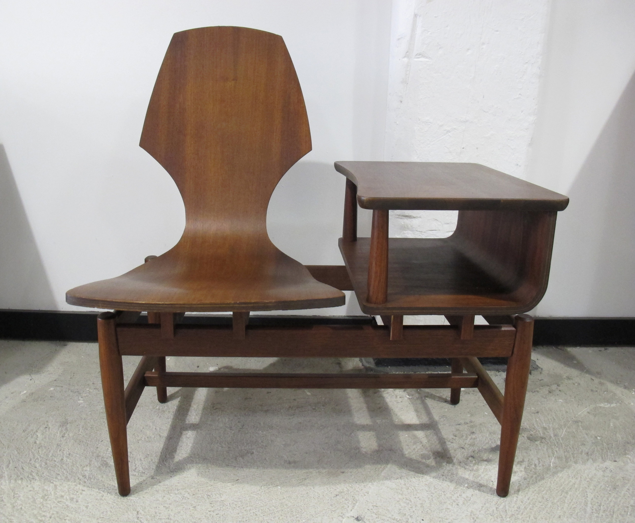 MID CENTURY PLYCRAFT BENTWOOD TELEPHONE TABLE AND CHAIR